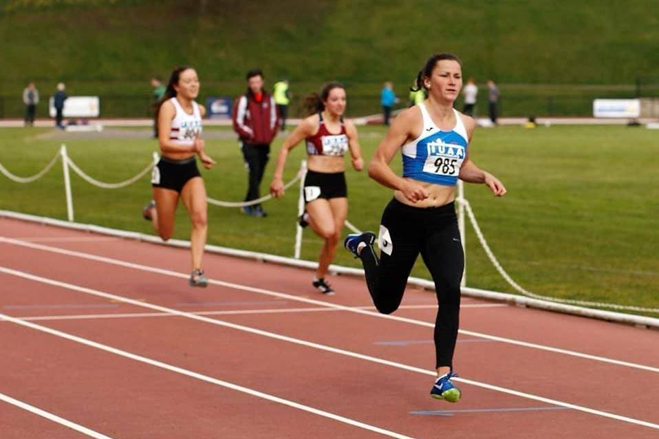 Pictured is Phil Healy, an elite sports scholar at WIT who she set new record times for the IUAA 100m and 200m with times of 11.55 and 23.31 respectably