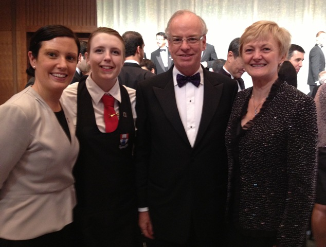 Leanne Wright, Vicki Kenny, with Mr John Neary, Irish Ambassador to Japan and his wife at the closing ceremony Gala Dinner.