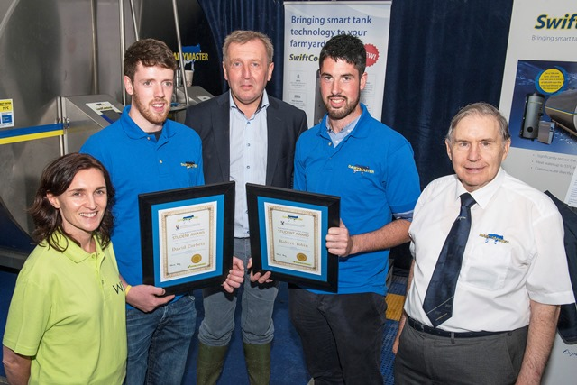 Dr. Elaine Duggan, WIT with award winning students, David Corbett, Co. Clare and Robert Tobin, Co. Wicklow, with Ned Harty, Chairman of Dairymaster and Michael Creed, Minister for Ag & Food