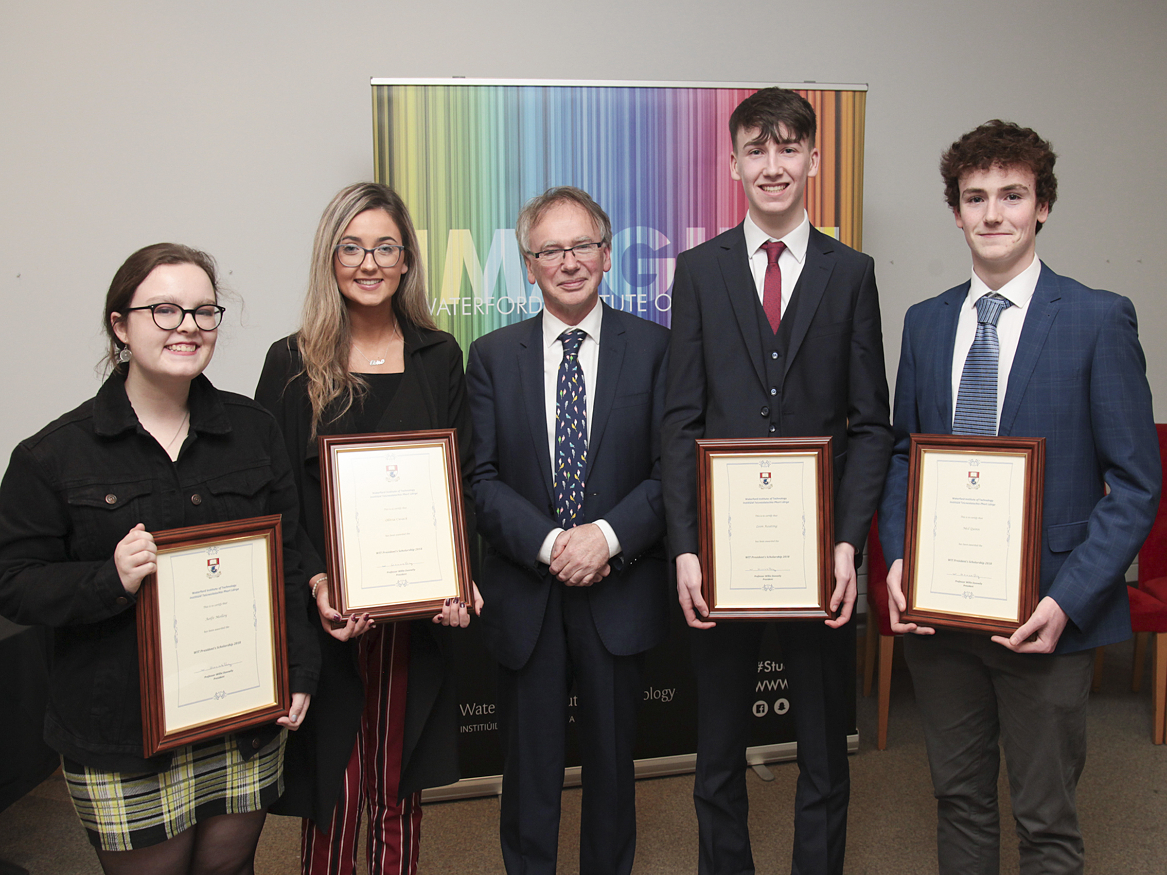 Pictured from left are: Aoife Molloy, Olivia Cusack, Prof Willie Donnelly (President of WIT), Leon Keating, Neil Quinn