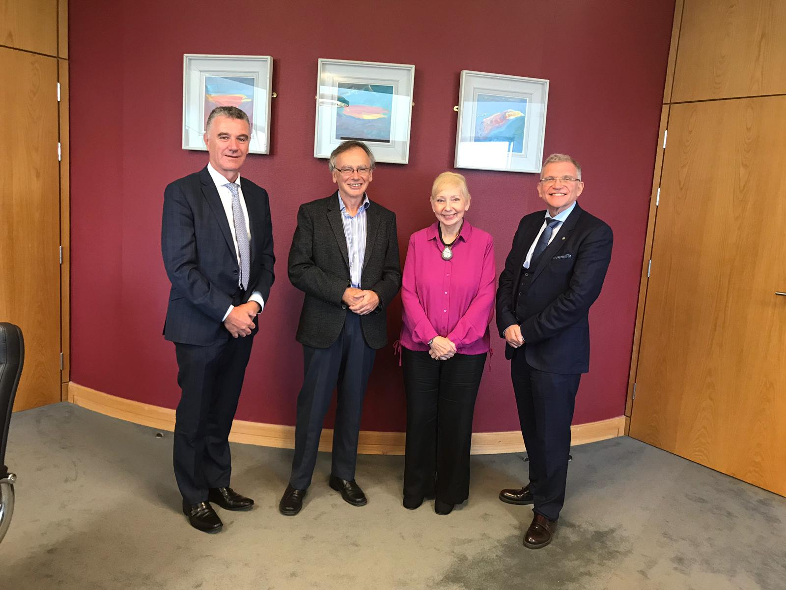 Pictured from left are Dr Michael Bergin, Head of Applied Arts, WIT; Prof Willie Donnelly, President, WIT; ProfYvonne McEwen, University of Wolverhampton; ProfJohn Wells, Head of the School of Health Science, WIT
