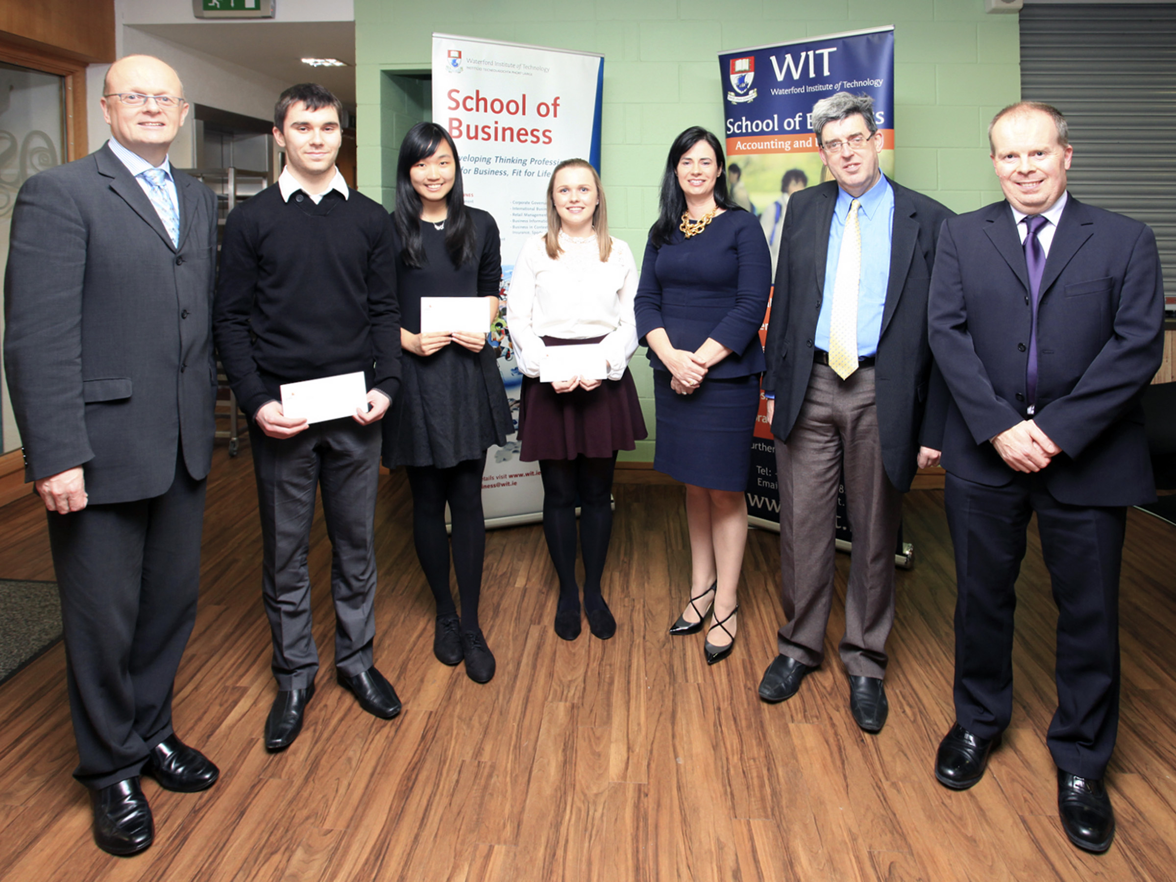 Pictured are: Dr. Thomas O'Toole, (Head of School of Business), Shane Rice, Seen Mun Chung, Gemma Heaslip, Siobhan Collier (PwC), Ger Long (Head of Department of Accouting & Finance) and Paul Treacy (Course Leader, BA (Hons) in Accounting)