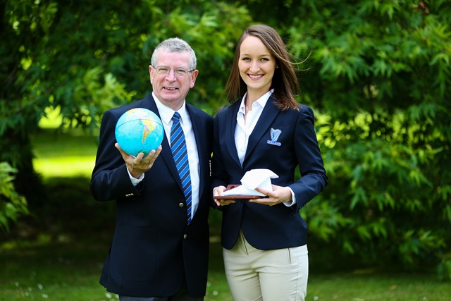 Mr Ray Cullen, Head of the Department of Languages Tourism and Hospitality with World Skills winner Alina Sile