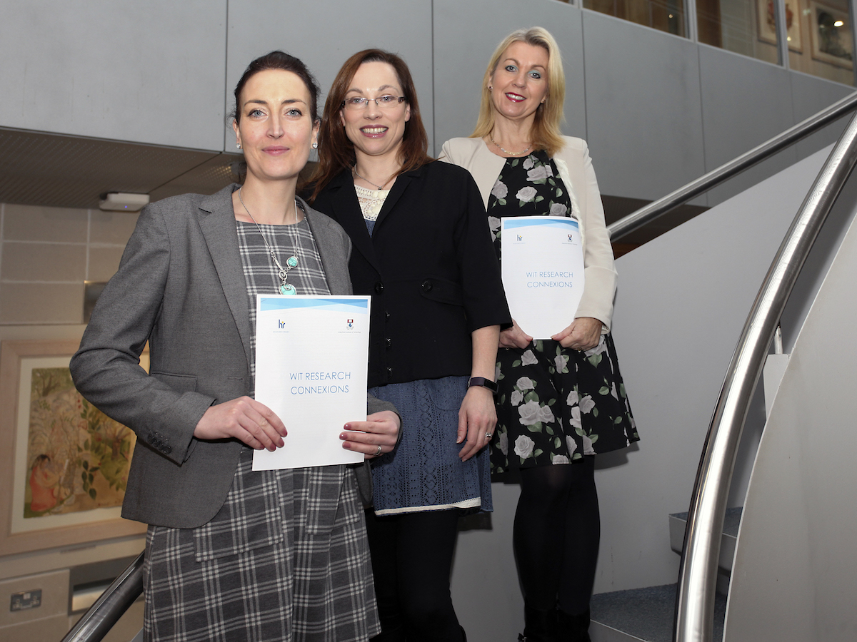 Pictures are Research Support Unit staff. From left are: National Research Programme Officer at WIT Jo Holohan, EU Research Programme Officer Philomena Treacy and Projects Manager Susie Cullinane