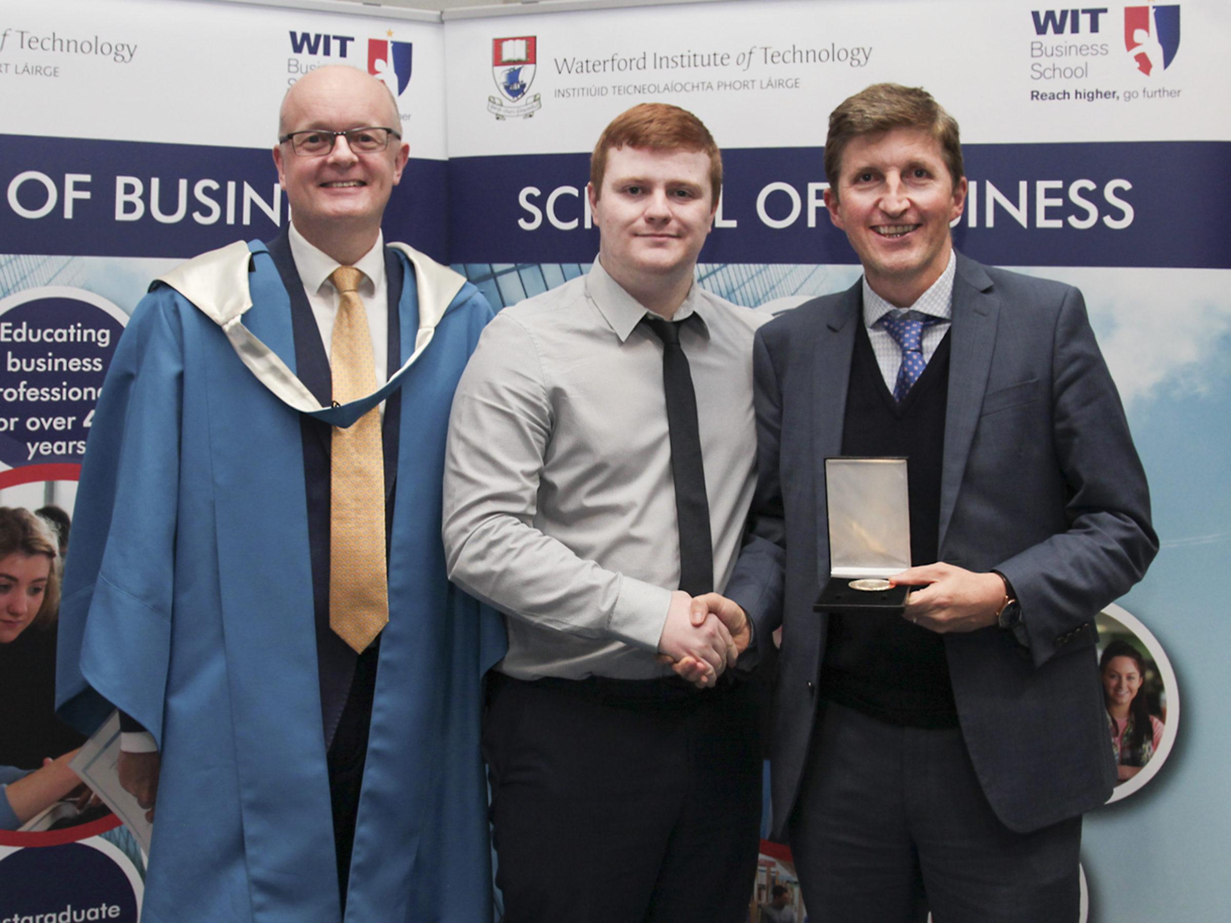 Pictured receiving the Rowe Medal in 2018 is student Noel Whelan