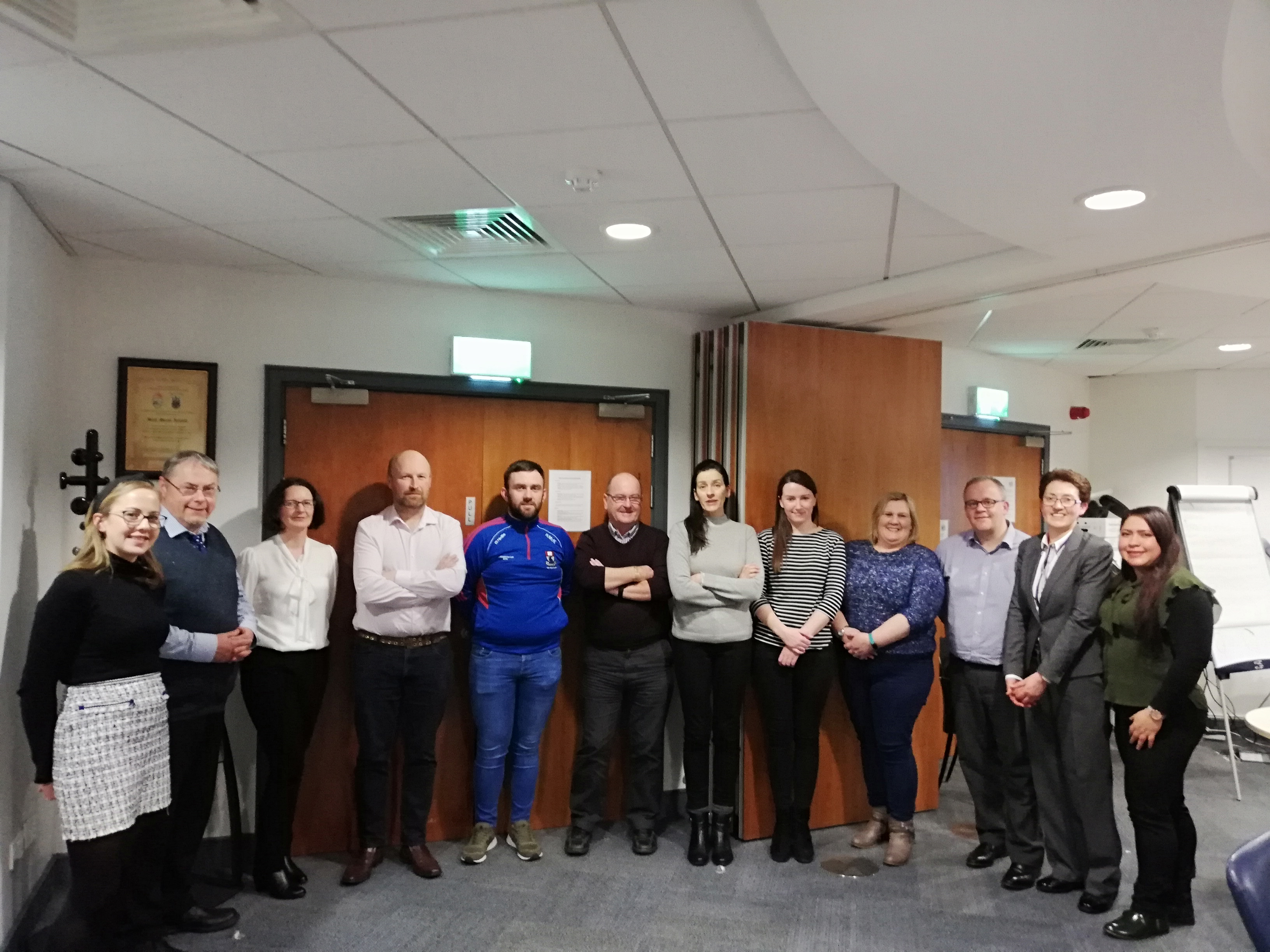 Pictured here in the photo are some of the current students along with Mr John Maher, Lecturer in Financial Risk and Regulatory Management (second to left) and Dr Sheila O Donohoe, Programme Director (second to the right).