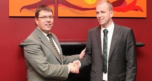 Dr. Ruaidhrí Neavyn, President, WIT congratulating Dr. Pio Fenton on his recent appointment as Regional Director of Samaritans