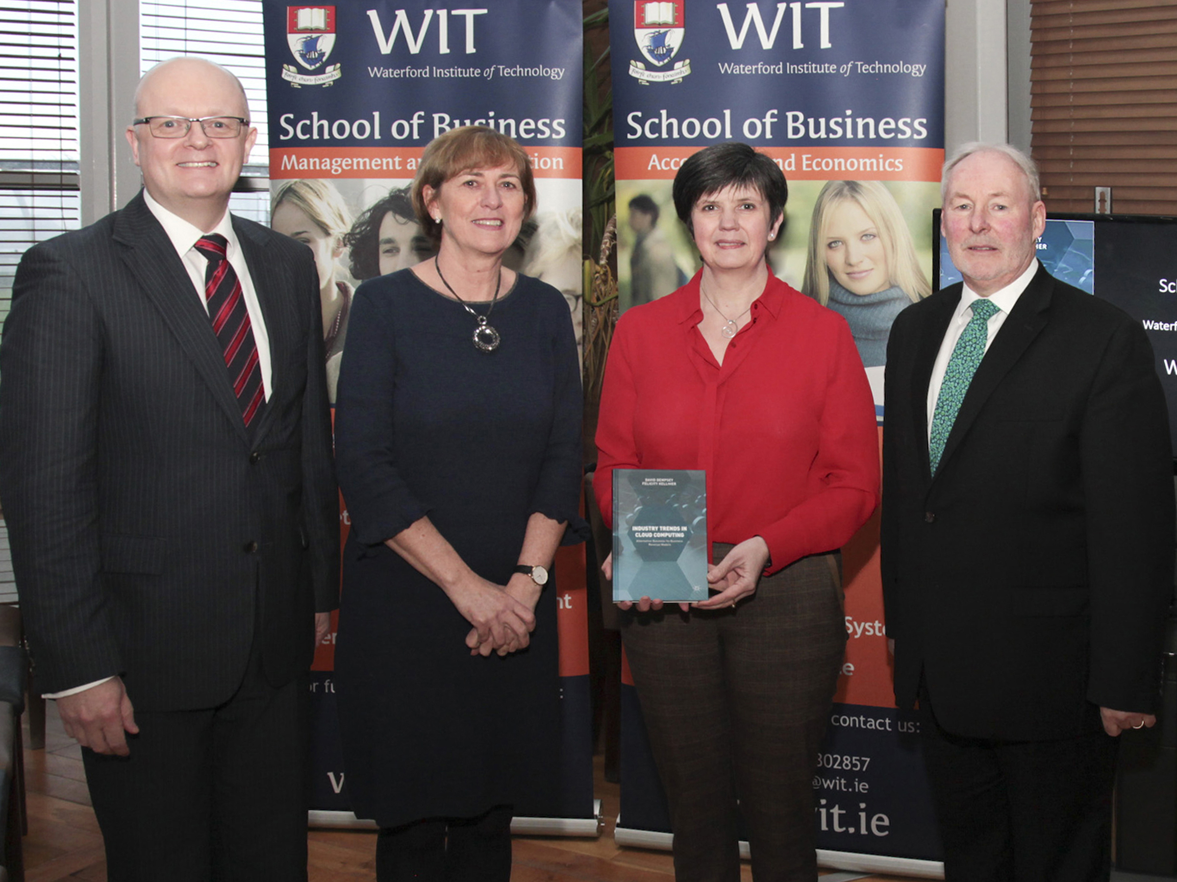 Pictured at the launch of Industry trends in cloud computing: Alternative business-to-business revenue models are Dr Thomas O'Toole, Dean of the School of Business,  Head of Department of Management and Organisation Joan McDonald, and the co-authors Felicity Kelliher and David Dempsey
