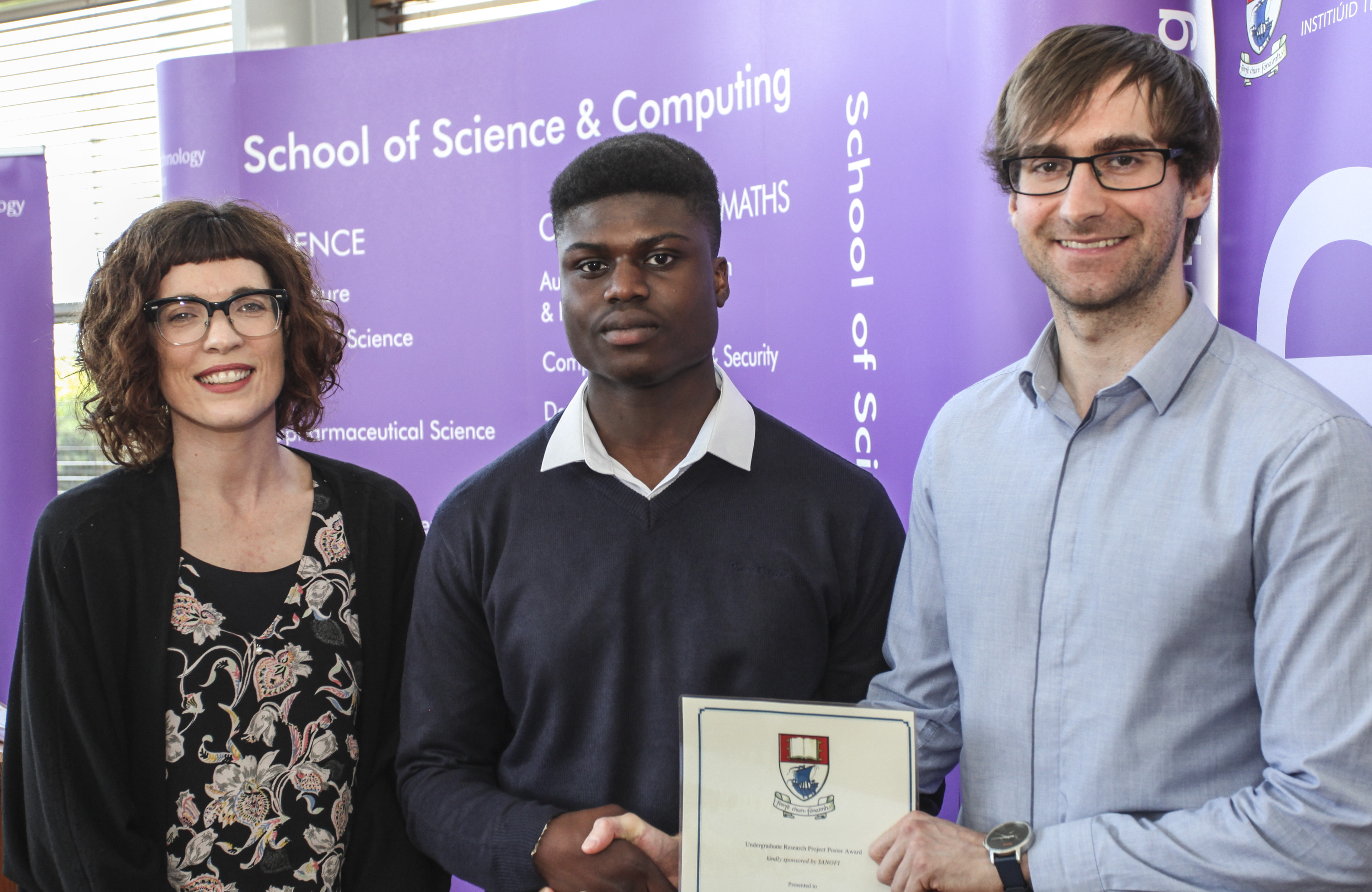 Pictured from left are: Dr Claire Lennon, WIT; Hilkiah Ako, a finalist in the BSc (Hons) in Pharmaceutical Science Final Year Research Project Poster Award sponsored by Sanofi and Brian Rellis from Sanofi presented the awards to the finalists and winners.