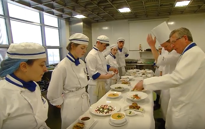 Pictured with WIT Culinary students is Ray Cullen. Source: Video