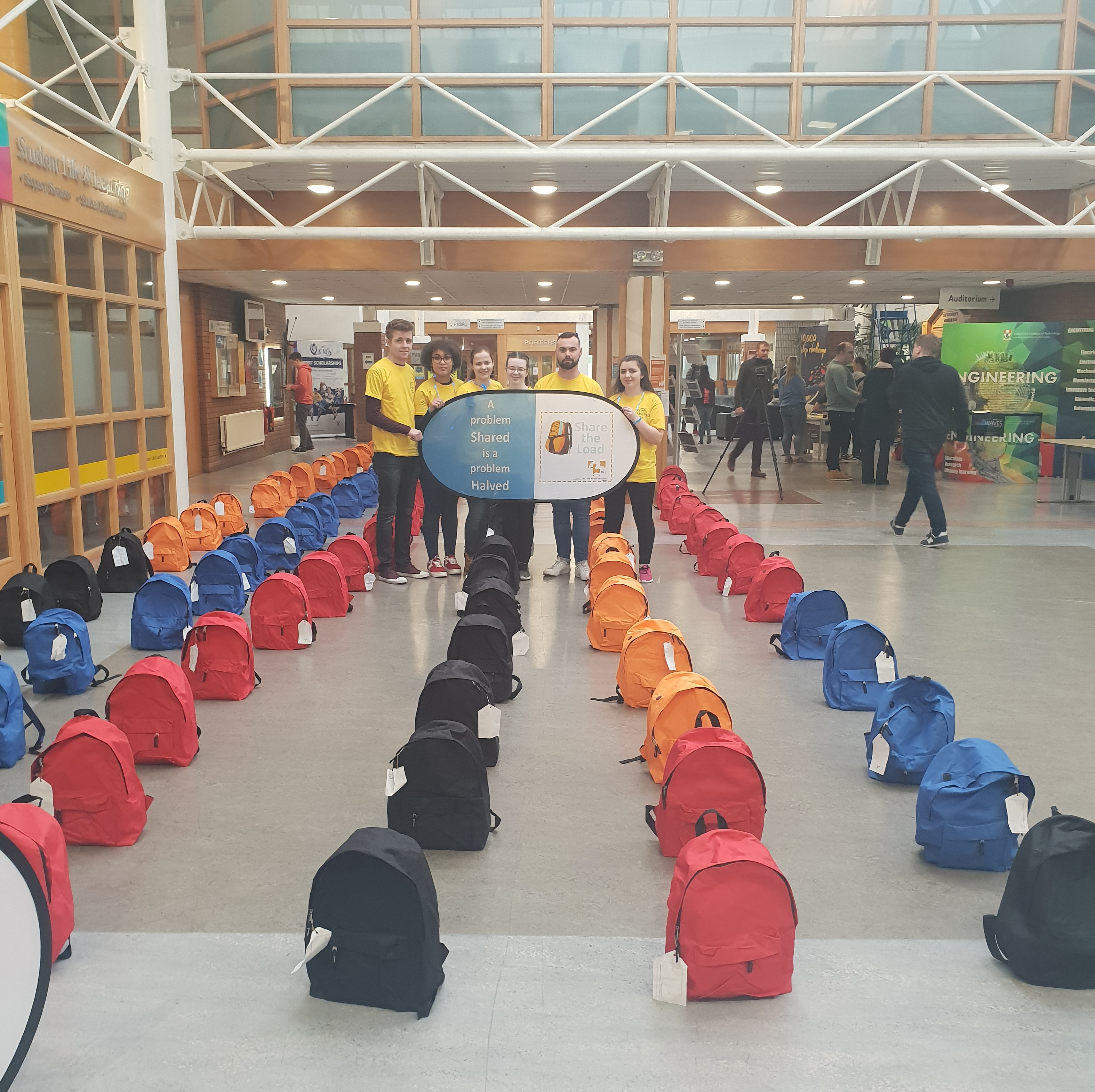 The public display of 124 backpacks, represents the average number of college students who die by suicide in Ireland each year