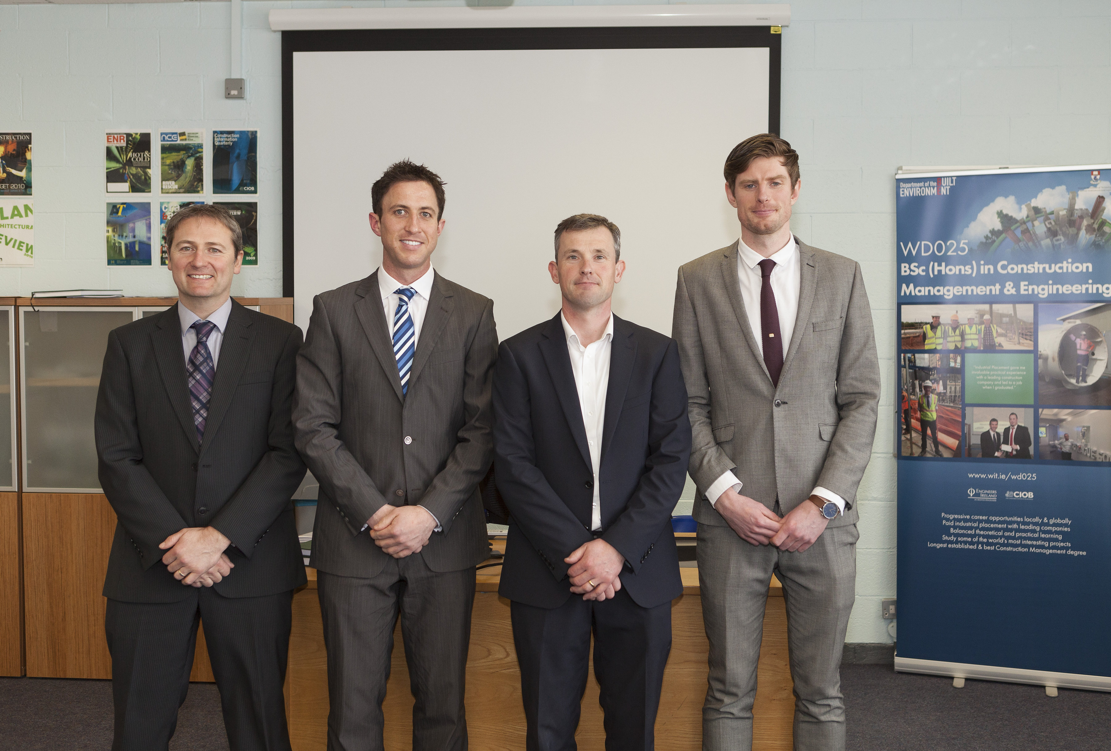 Pictured at the presentation of the 2016 Sisk Award in WIT are (left to right): David Phelan, Lorcan Hickey, Declan Gahan of Sisk and Brook Cameron