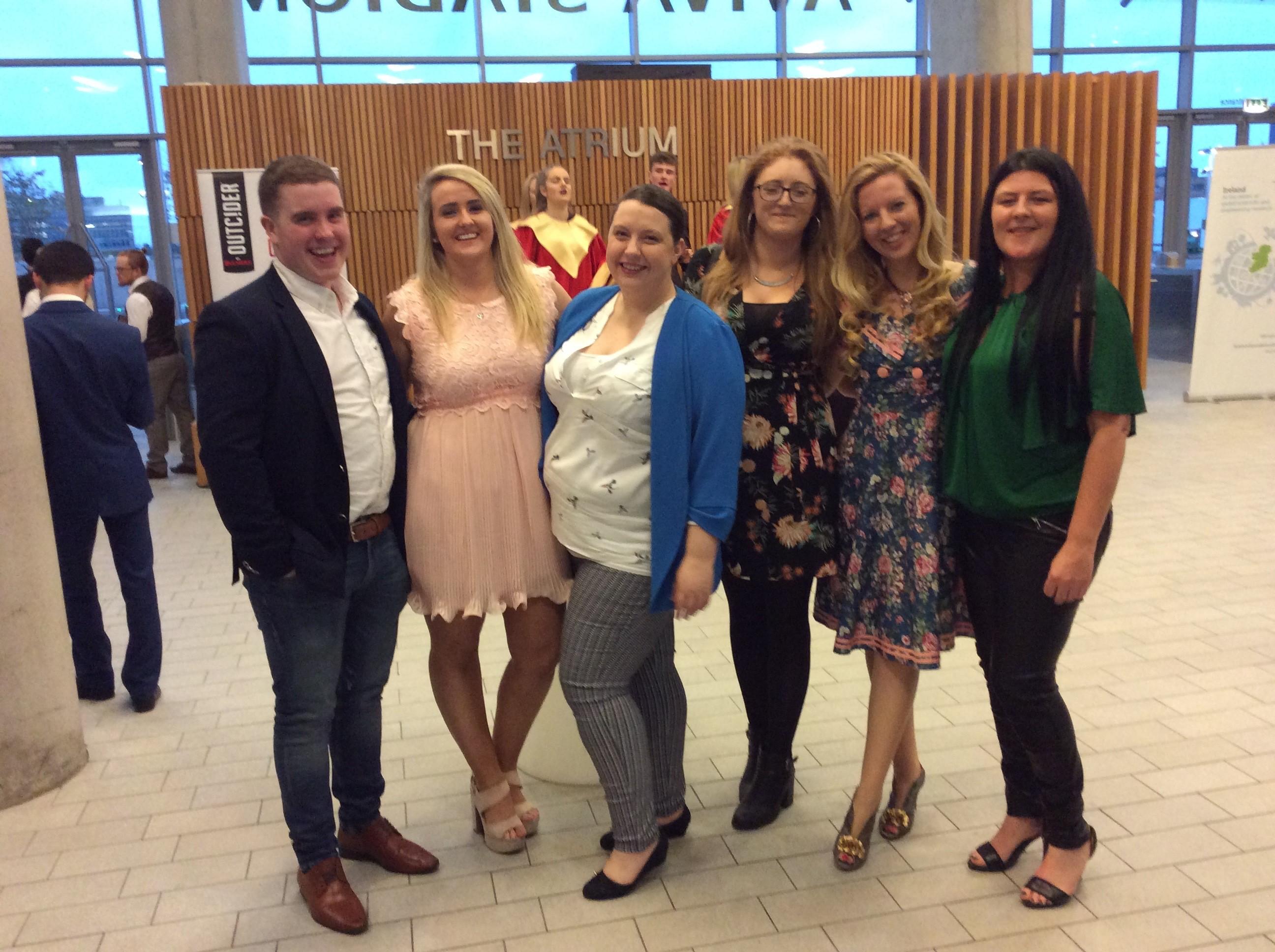 Pictured are, Cian O Hallaran, Dungarvan; Sarah McCoy, Cork; Nemeton Editor Yvonne Weaver;  Winner Ailbhe Nic Dhonncha, An Rinn; Deirdre Orme and Ciara Malone