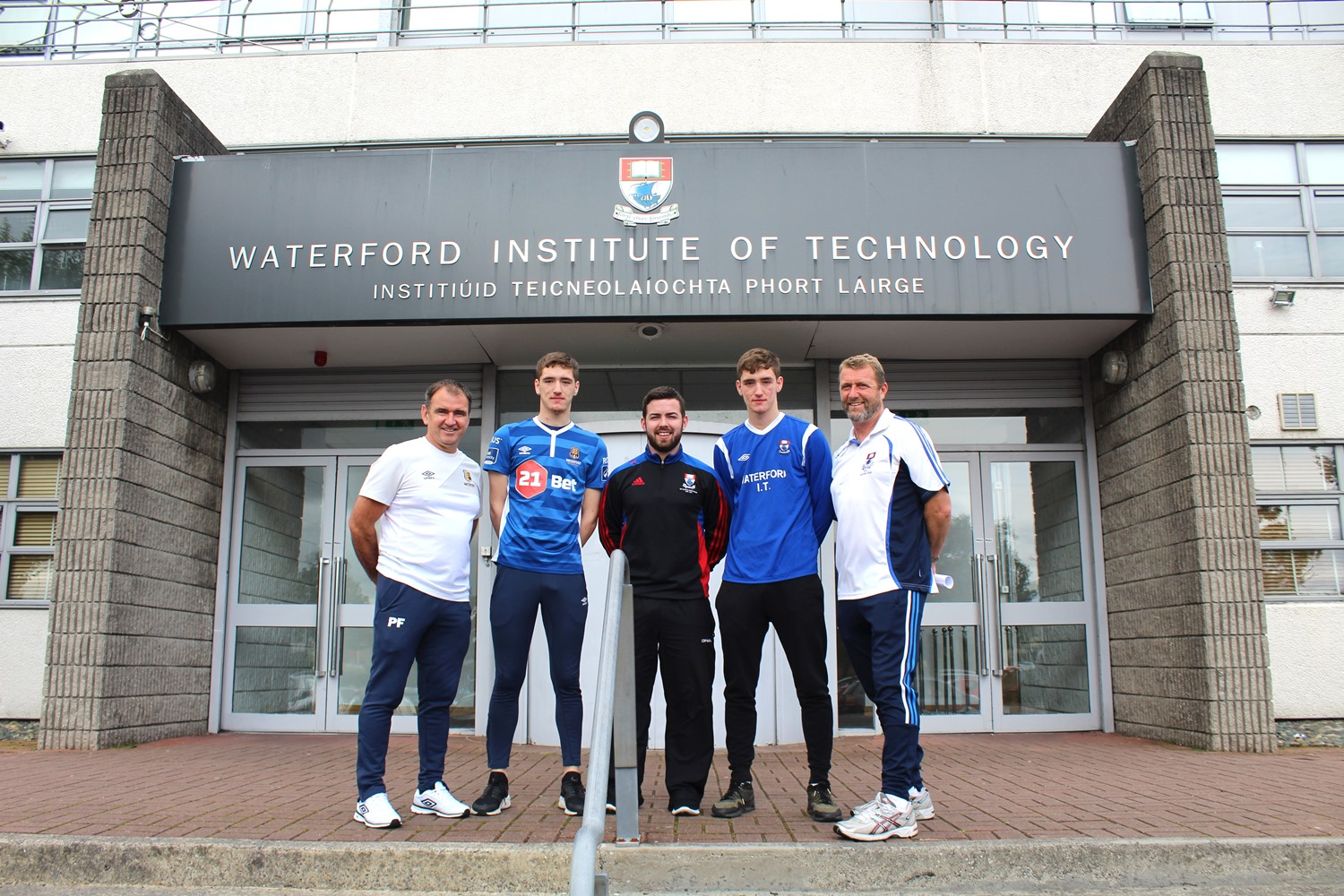 Pictured at the launch of WFC Soccer Scholarship Programme are Pat Fenlon (WFC Director of Football, Paul Martin (Scholarship recipient), Alan Malone (WIT Sport Scholarship Coordinator) John Martin (Scholarship recipient), Tommy Griffin (WIT Soccer Development Officer).