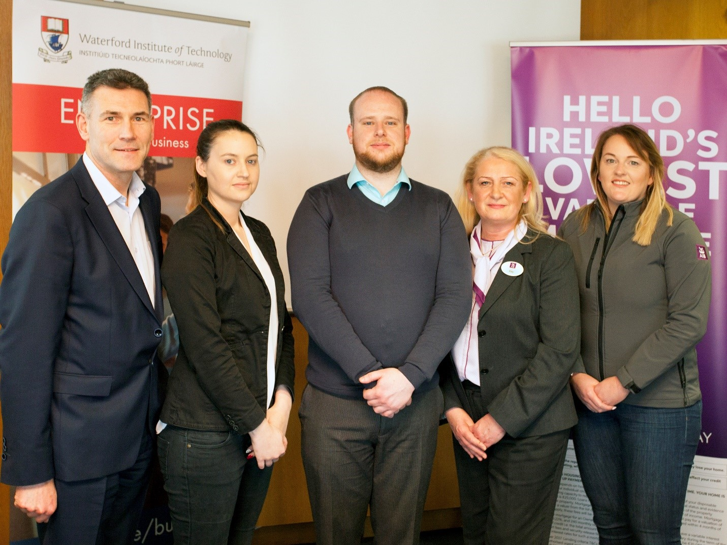 Photo: (Left to right) Eugene Crehan WIT, Aisling Dunne, William Wall, Kay Ruddle AIB, Marion Fewer, AIB.