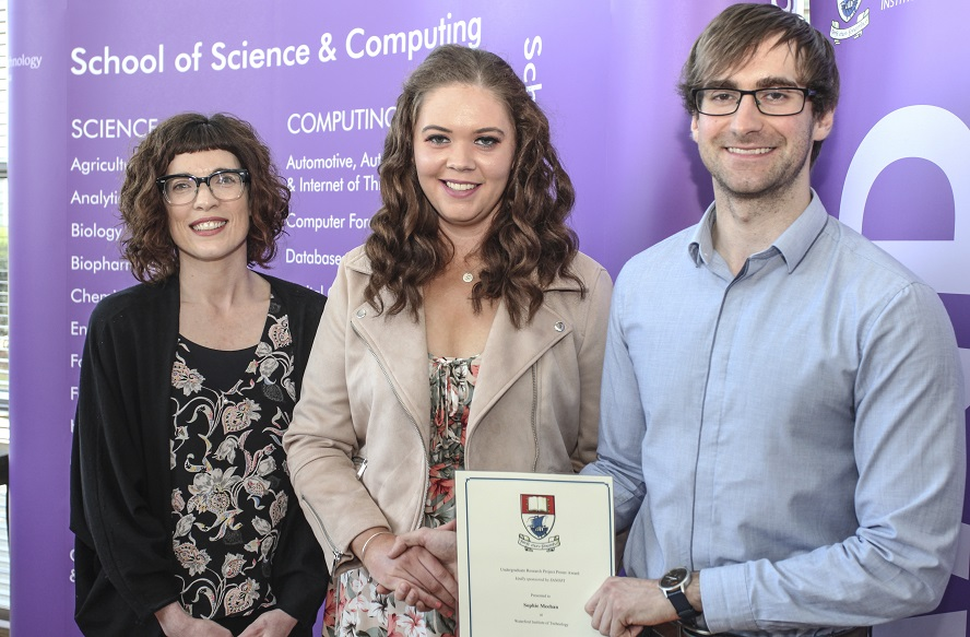 Pictured from left are: Dr Claire Lennon, WIT; Sophie Meehan, a finalist in the BSc (Hons) in Pharmaceutical Science Final Year Research Project Poster Award sponsored by Sanofi and Brian Rellis from Sanofi presented the awards to the finalists and winners