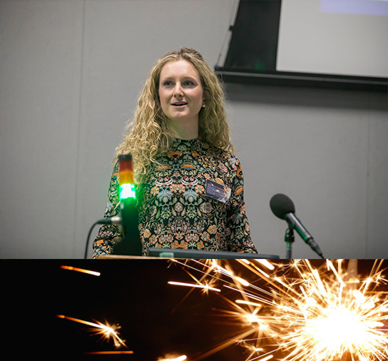 Dr SarahJane Cullen speaking at Research Sparks 2018
