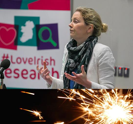 Dr Valerie Brett speaking at Research Sparks 2018