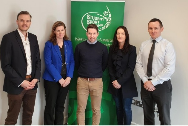 Board Members of Student Sport Ireland: Matthew Dossett (Trinity College Dublin), Suzanne Bailey (University College Dublin), Donal McNally (IT Carlow), Yvonne McGowan (Dublin City University) and John Windle (WIT)