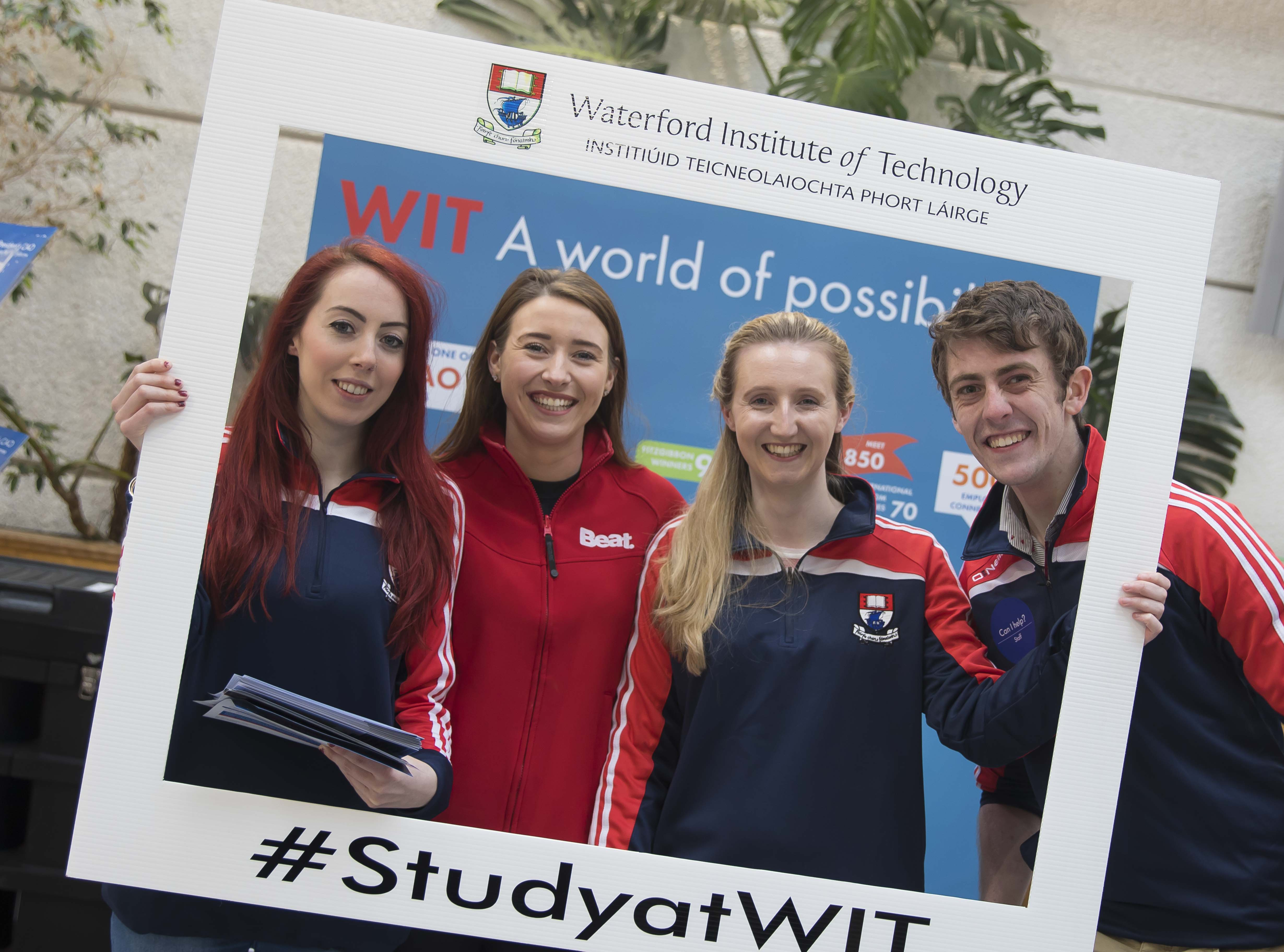 Pictured from left at the Waterford Institute of Technology (WIT) CAO Information Evening earlier this year are Lorna Flynn WIT Student Ambassador, Caroline Kent, Beat, Katie Duggan and Shane Phillips WIT Student Ambassadors. Picture: Patrick Browne