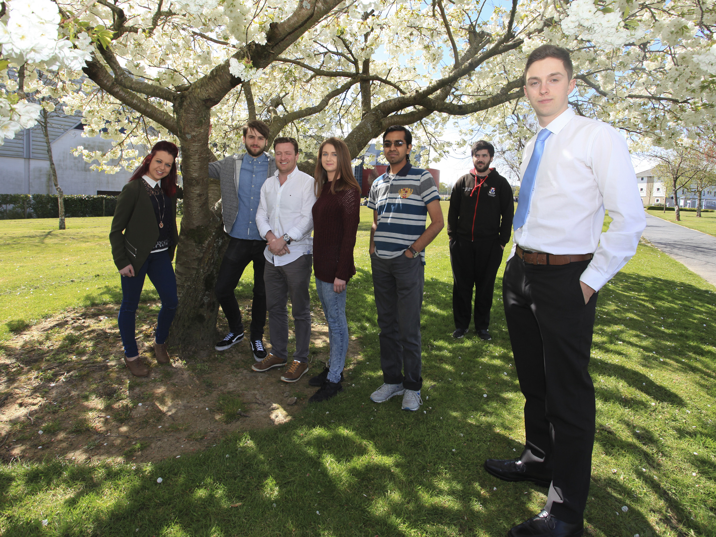 Pictured from left are Chloe Byrne, BSc in General Nursing; Darragh Hynes, BSc (Hons) in Applied Computing; Keith McGrory, BSc (Hons) in Quantity Surveying;  Rachael O'Regan, BSc in Applied Computing; Uma Shivasiddhath, PhD Student; Aiden Keating, BSc (Hons) in Applied Computing; and John Molloy, BSc (Hons) in Agricultural Science.