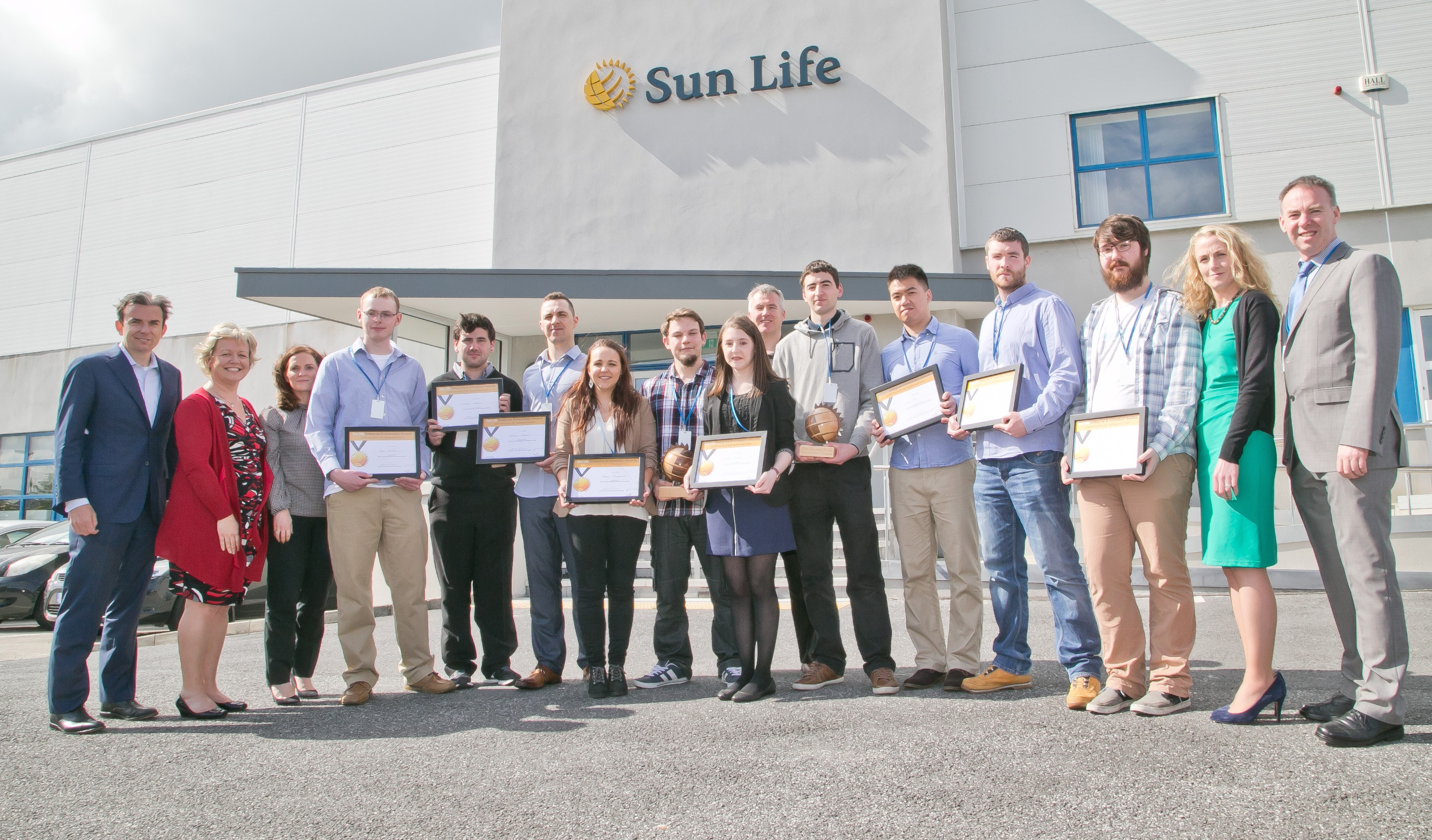 WIT students at Sun Life Financial Waterford for the announcement of the winners of the Sun Life Enterprise and Innovation Awards 2016
