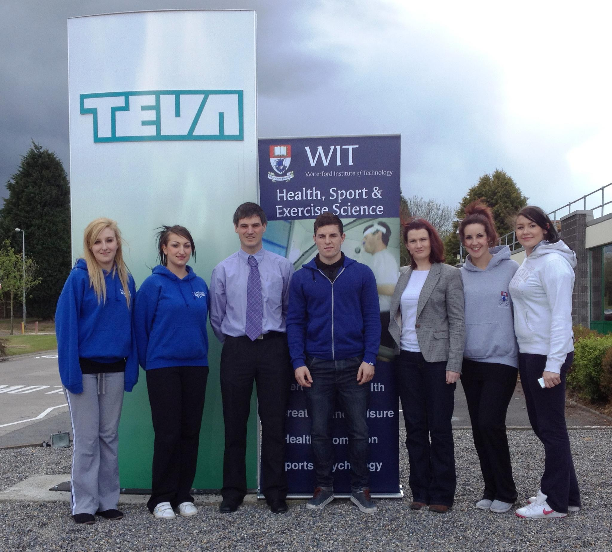 Pictured with the students are Aubrey Storey (lecturer) and Claire Foran (TEVA).