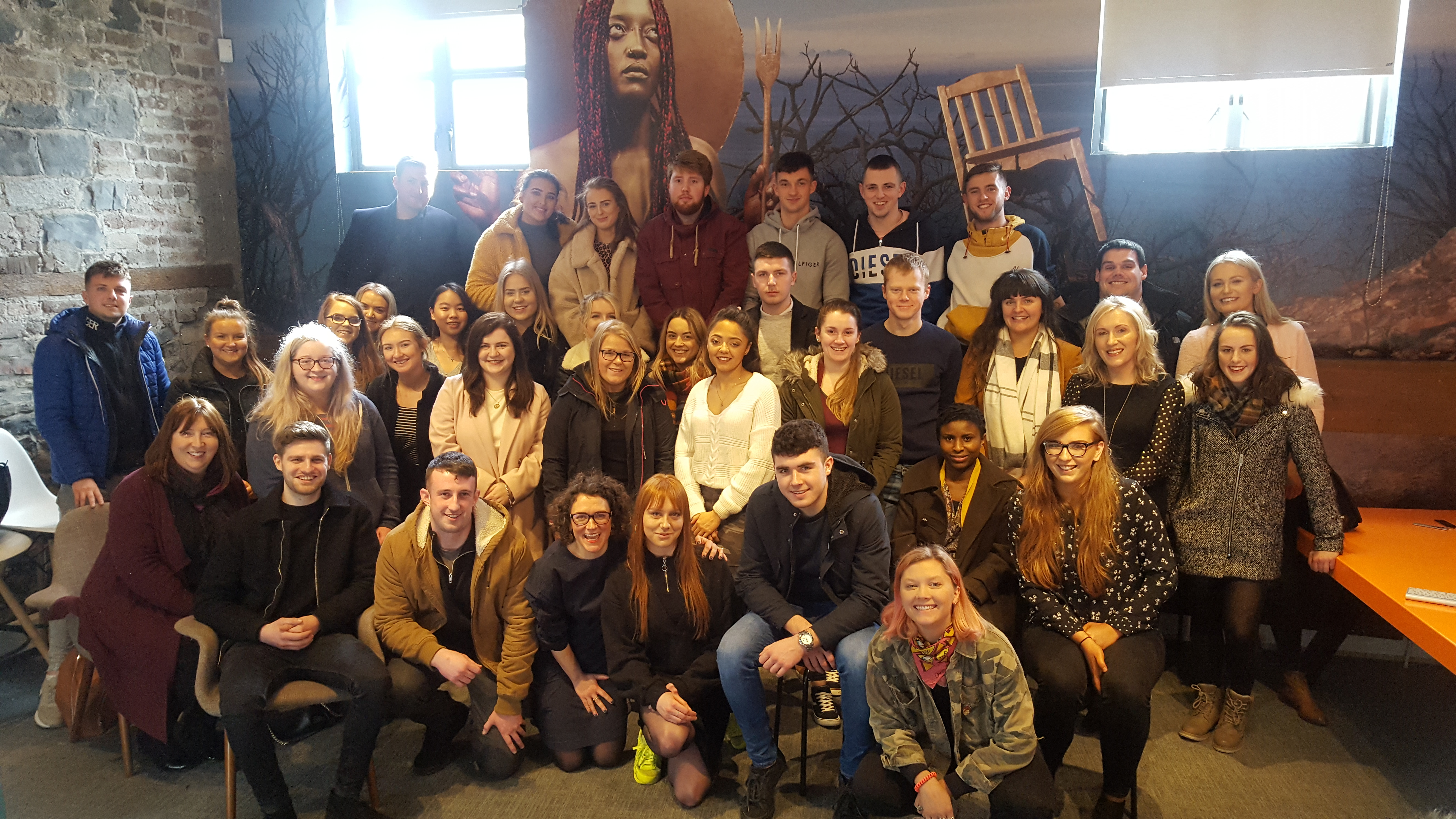 Pictured in Thinkhouse, Dublin are BBS (Hons) Marketing and BA (Hons.) in Marketing & Digital Media students
