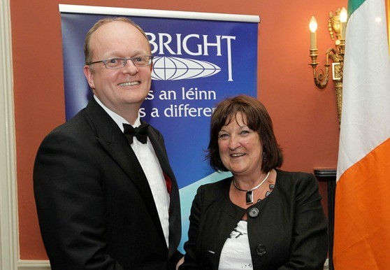 Dr. Tom O'Toole with Una Halligan, Chair, Fulbright Commission at the Fulbright Awards Reception on 15 June 2012