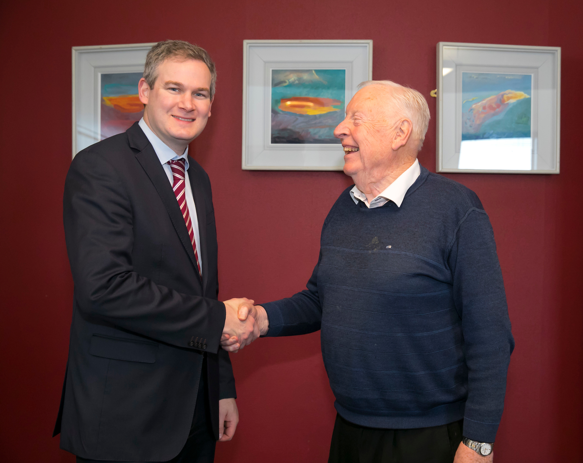 Minister of State Seán Kyne TD (Government Chief Whip and Minister of State for Gaeilge, the Gaeltacht and the Islands), and Mr Tom Boyle (Ireland's oldest third level student).