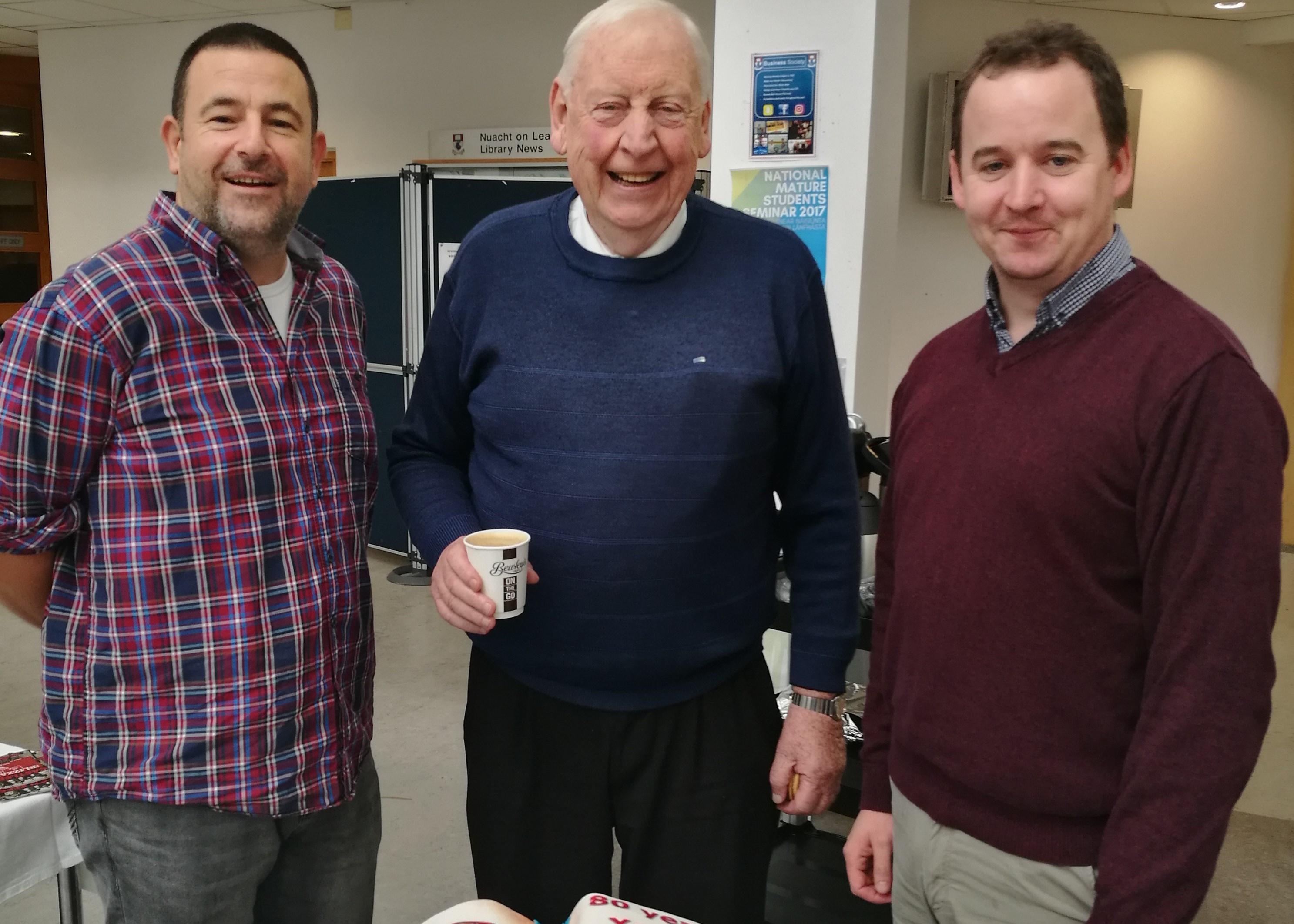 Pictured far left is Mature student Steve Daly at a birthday celebration in 2017 for WIT's eldest student Tom Boyle (80) and lecturer Seamus Dillon