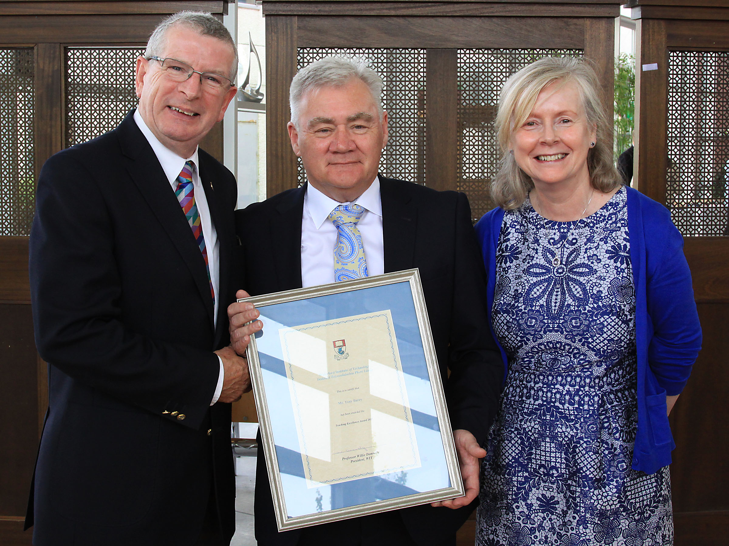 Pictured from left at the 2017 Teaching Excellence Award ceremony are Dr Ray Cullen, Head of Department of Languages Tourism Hospitality, award recipient, chef Tony Barry and Head of the School of Humanities, Dr Marian O'Neill
