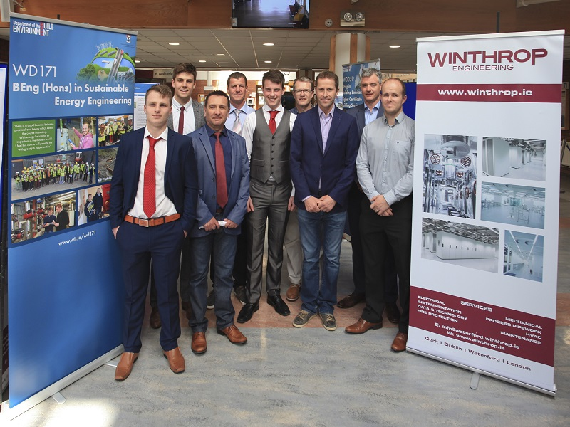 Second from the left is Tony McDonnell with some of his classmates; Tom O'Brien Engineering Lecturer WIT; Colm Tynan, Sustainable Energy Engineering Lecturer WIT; Ger O' Leary, Managing Director of Winthrop Engineering; Gary Widger, Project Manager Winthrop Engineering.
