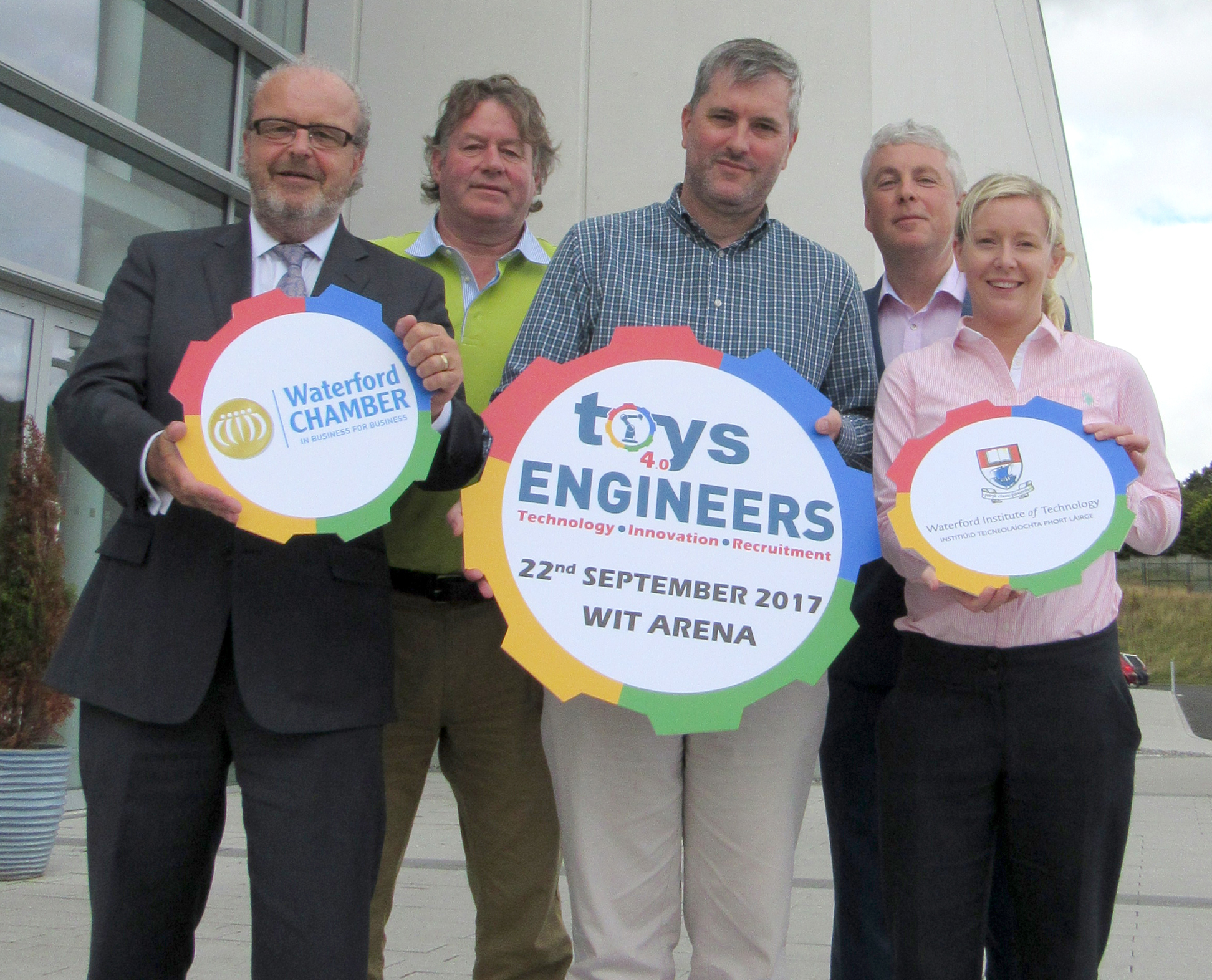 Pictured at WIT Arena are Gerald Hurley, Waterford Chamber CEO; Niall Griffin, Metalman Engineering; Laurent Borla, Senantra Ltd.; Dr Ken Thomas, Head of School of Engineering at WIT and Donna Drohan, WIT Arena.