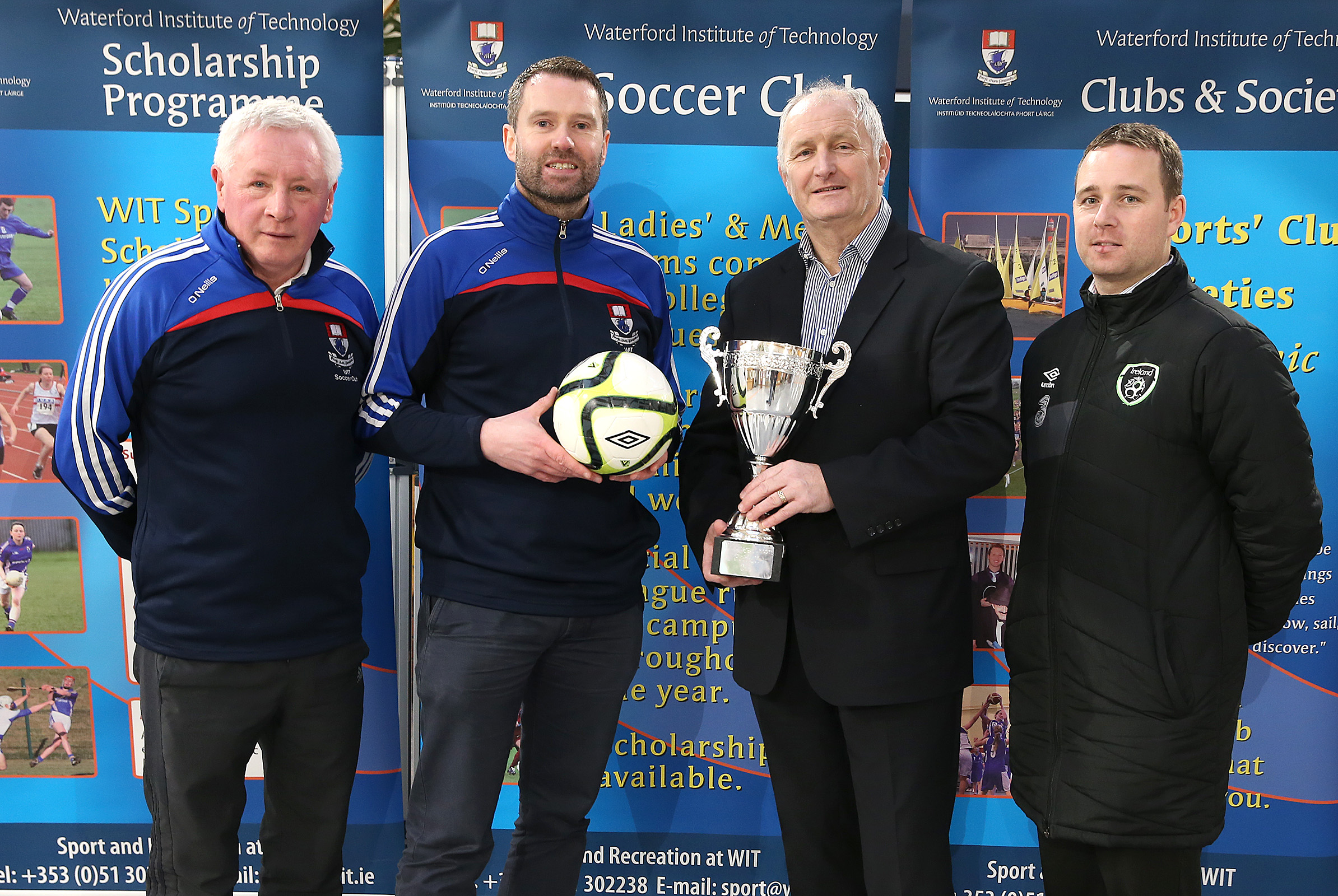 From left to right: John Douglas (WIT Soccer Development Officer), Robin Croke (WIT Clubs & Societies Officer), Joe O' Brien (Chairman of the Colleges Football Association of Ireland), Mark Scanlon (FAI National Co-Ordinator for Schools, Colleges & Universities).