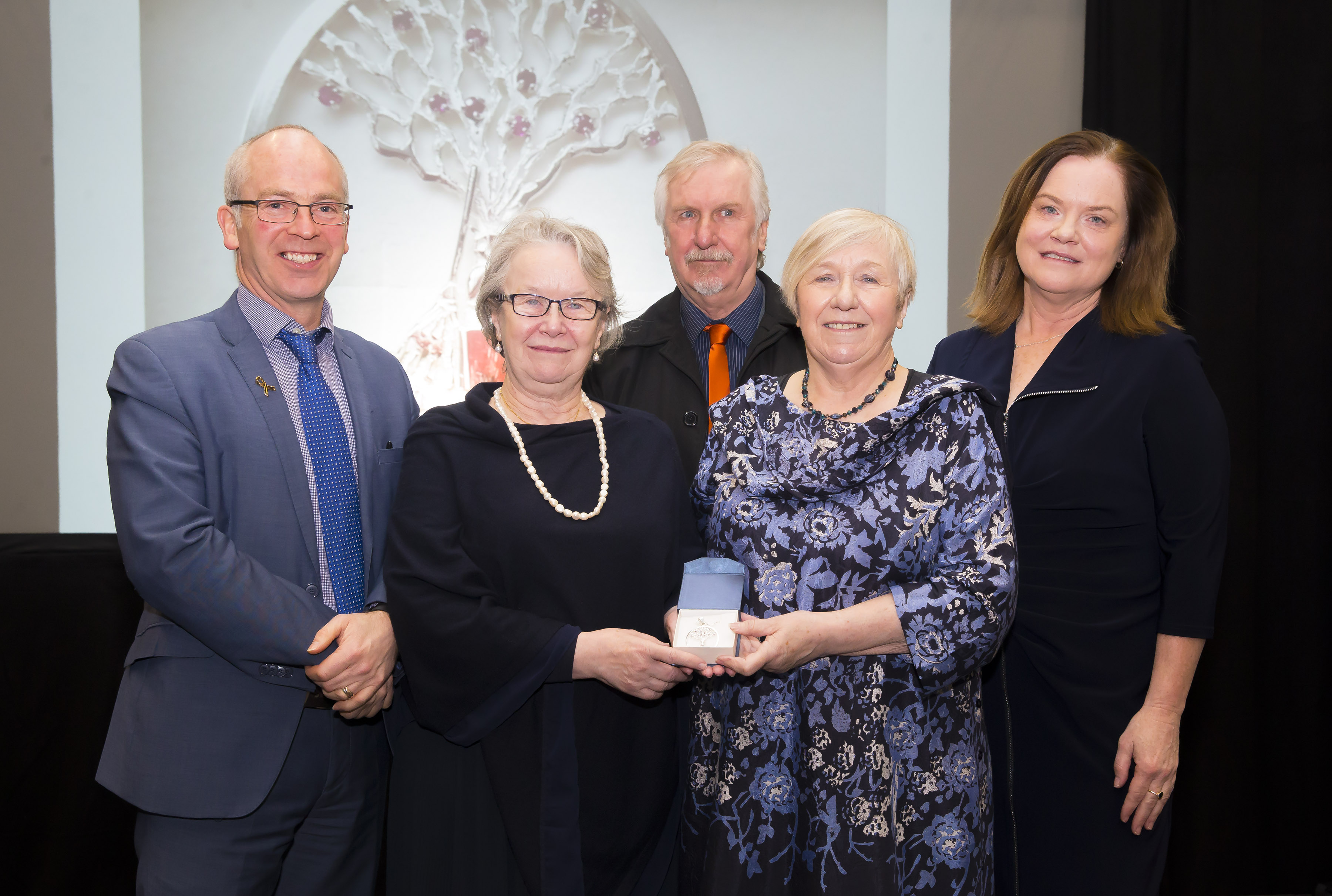 Pictured from left are Dr Peter McLoughlin, Head of the Scholl of Science & Computing, WIT, Patricia Billett, Aidan McDermott, Eva Creely, and Dr Orla O'Donovan, head of the Department of Science WIT