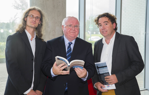 From left, Dr Tom Boland, Fr Sean Healy, Director of Social Justice Ireland and Dr Ray Griffin at the launch of The Sociology of Unemployment book