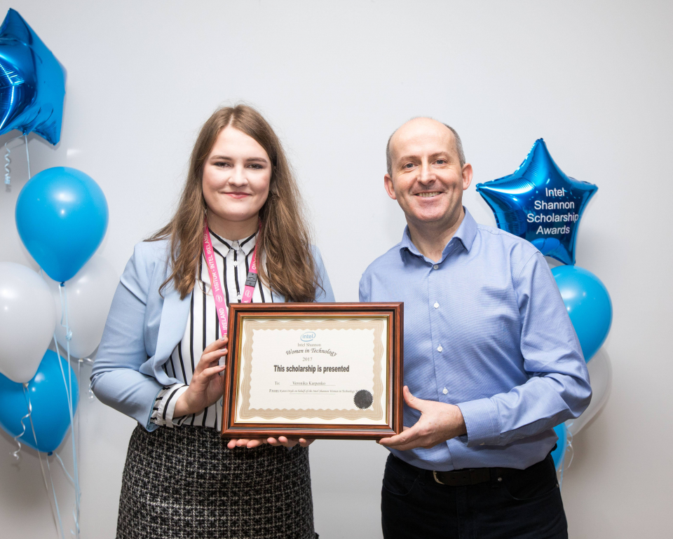 Pictured at the award ceremony is Veronika and a WIT graduate Intel Shannon General Manager Brian Aherne