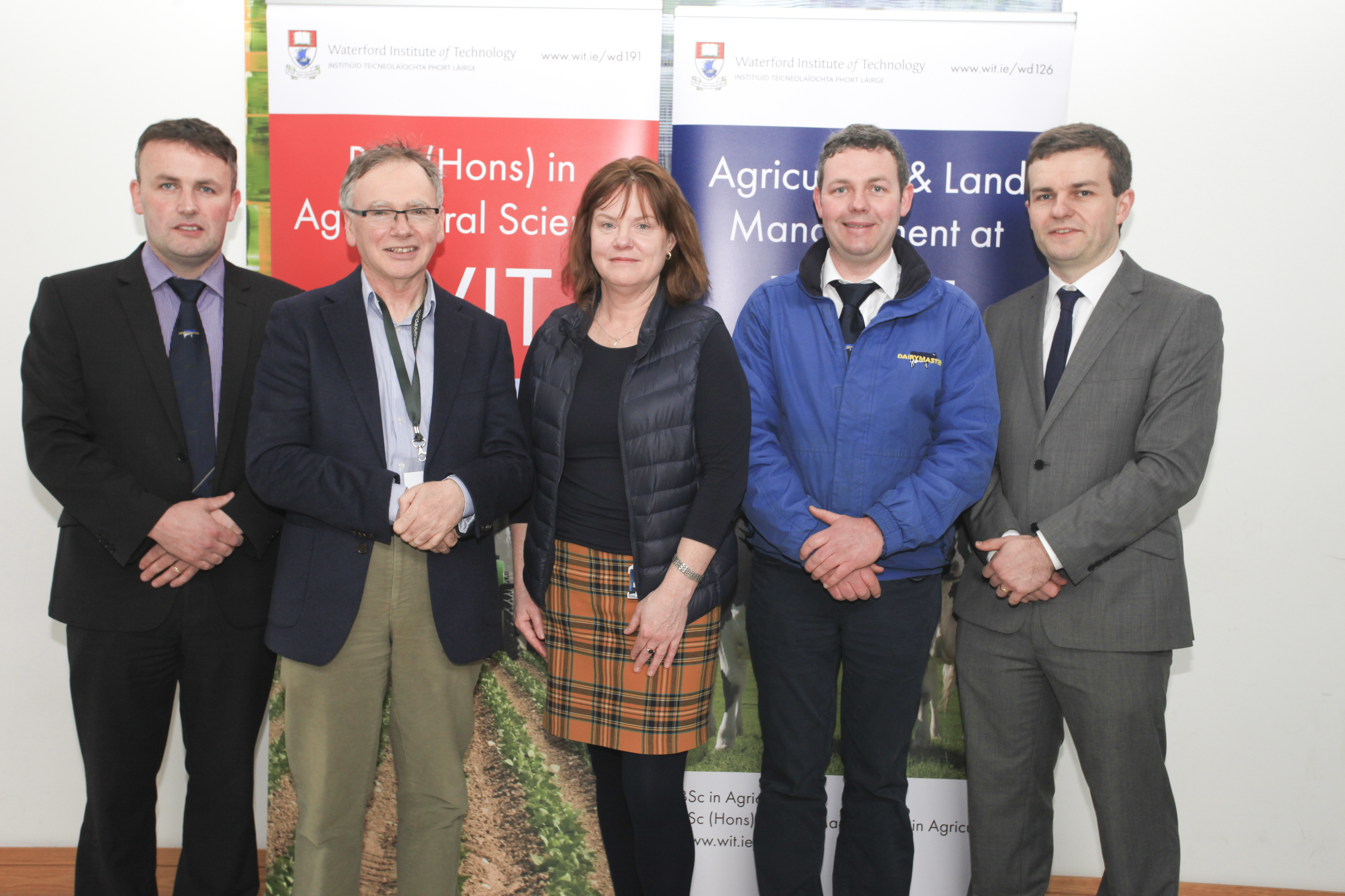 Pat Ryan, Business Development Manager of Dairymaster, Causeway, Co. Kerry, Prof Willie Donnelly, WIT President with Dr. Orla O' Donovan (Head of Dept. of Science, WIT) with Tom Cummins, Stradbally, Co. Laois, Regional Sales Representative for Dairymaster and Dr. Michael Breen programme leader for the BSc (Hons) in Agricultural Science at WIT