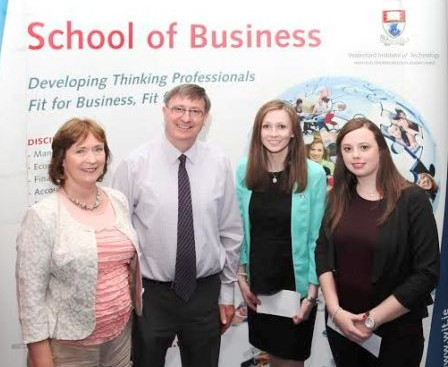 Pictured left to right: Rachel Breen, Mark Kennedy & Co. Accountants, Mark Kennedy CPA, Mark Kennedy & Co. Accountants and prizewinners  Olivia McDonald & Niamh Duggan.