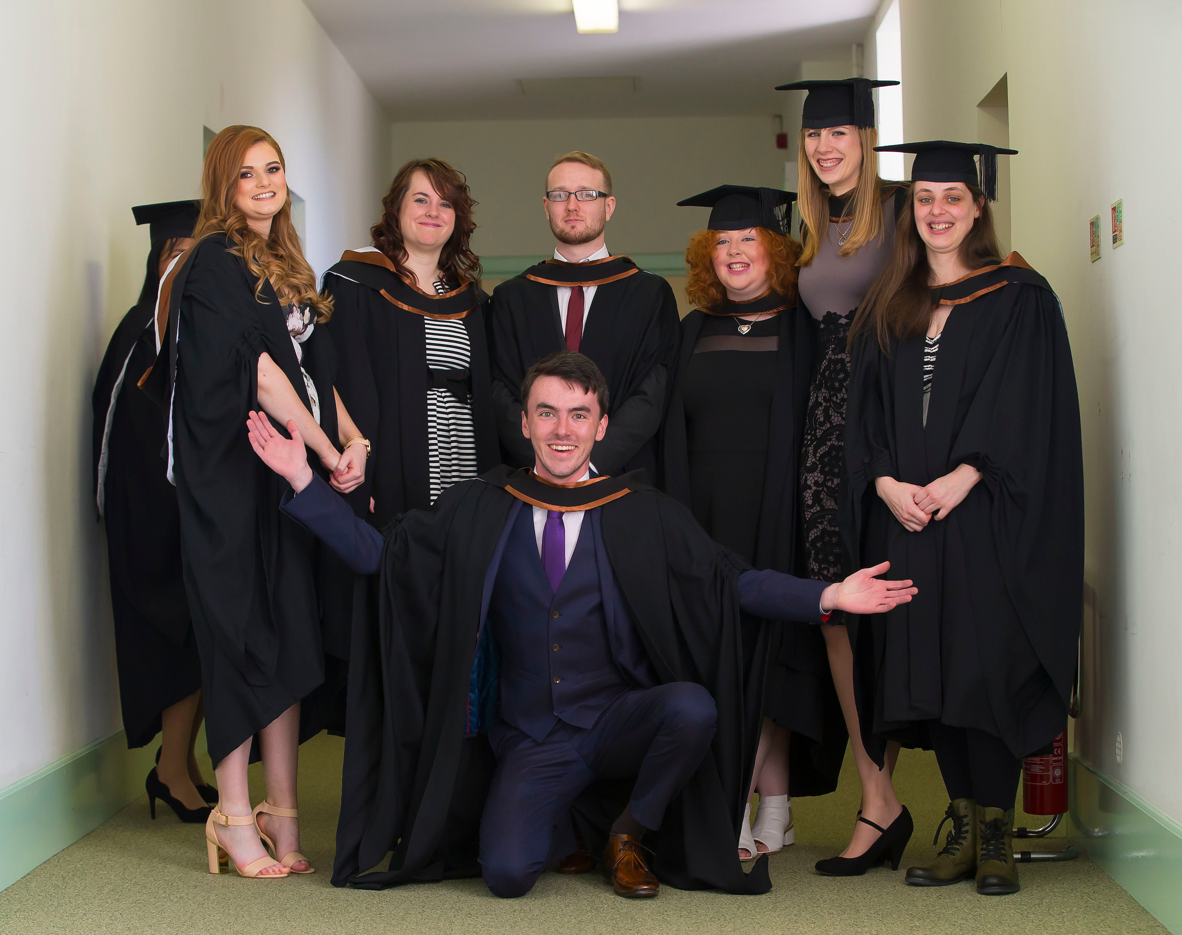 Jacqueline Purcell, far right, with her classmates from the BA (Hons) in Arts at Graduation 2016
