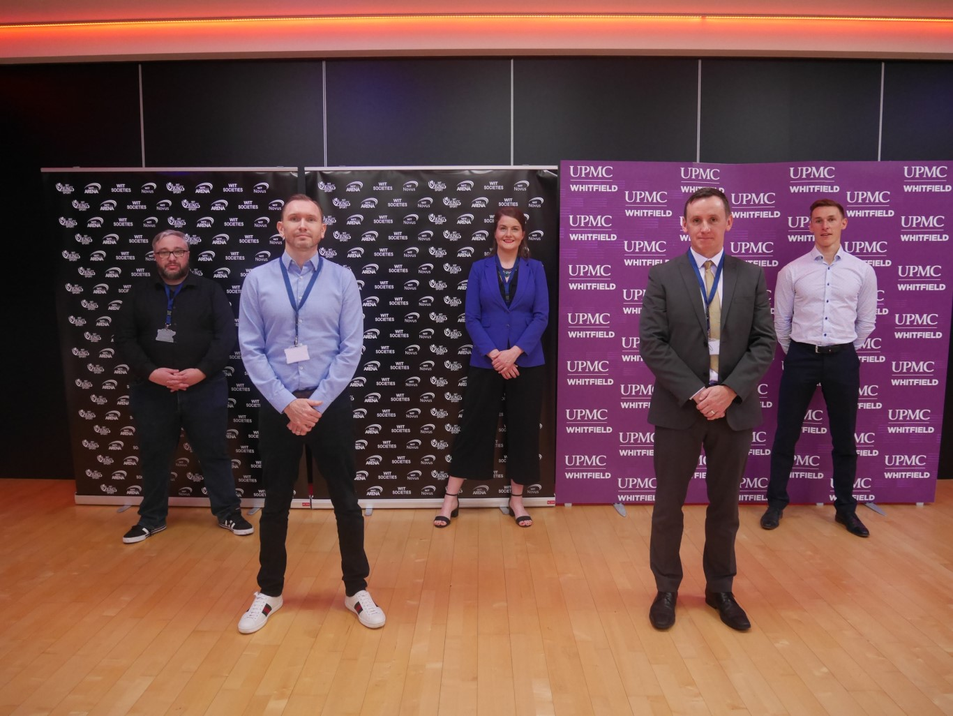 Back Row l to r: Aidan Boylan, Collegiate Esport, Aisling O' Neill, WIT ArcLabs, Killian Buckley, UPMC Ireland. Front row l to r Darragh Cunningham Ireland Esports and John Windle, Head of WIT Vikings Sport.