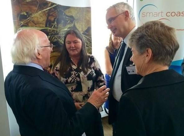 President Michael D Higgins, Dr Catherine O'Reilly WIT and and Dr Henry Schofield from the Vincent Wildlife Trust. Photo by Micheal Mac Suibhne