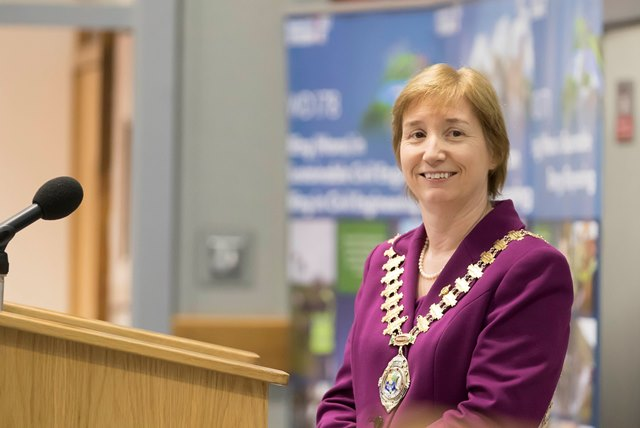 Pictured speaking to engineering and technology students at WIT is Regina Moran, President of Engineers Ireland and CEO of Fujitsu (Ireland)