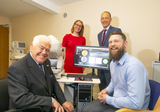 John Leonard, Fighting Blindness member who is visually impaired and living with AMD; Laura Brady, Head of Research, Fighting Blindness; Mr David Kent, consultant eye surgeon at the Vision Clinic in Kilkenny and Dr Laurence Fitzhenry, WIT researcher and coordinator of the ORBITAL project