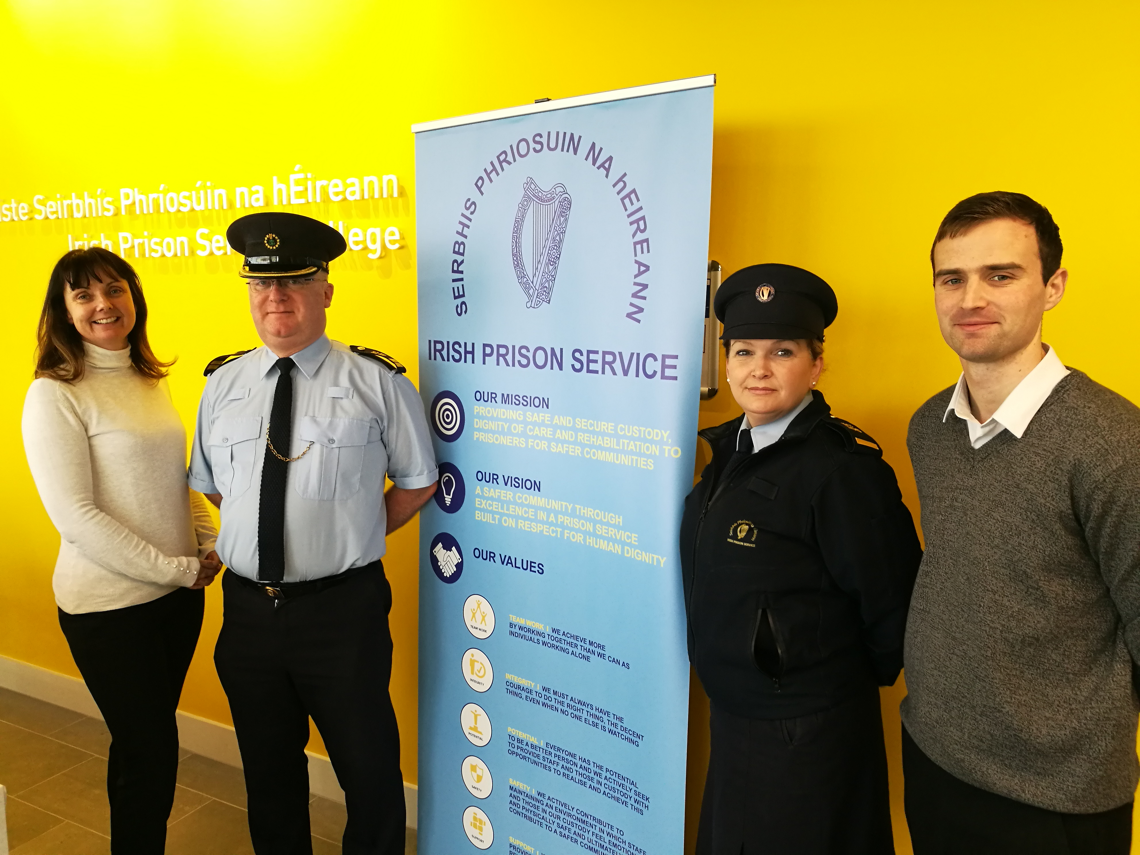Pictured are members of the proposal team, left to right: Dr Fionnuala Brennan, lecturer WIT and proposal lead, Chief Officer Raphael O'Keeffe, Irish Prison Service, Sylvia Flynn, HCCC Co-ordinator Irish Prison Service, Cathal Ryan, HCCC Project Manager, WIT.