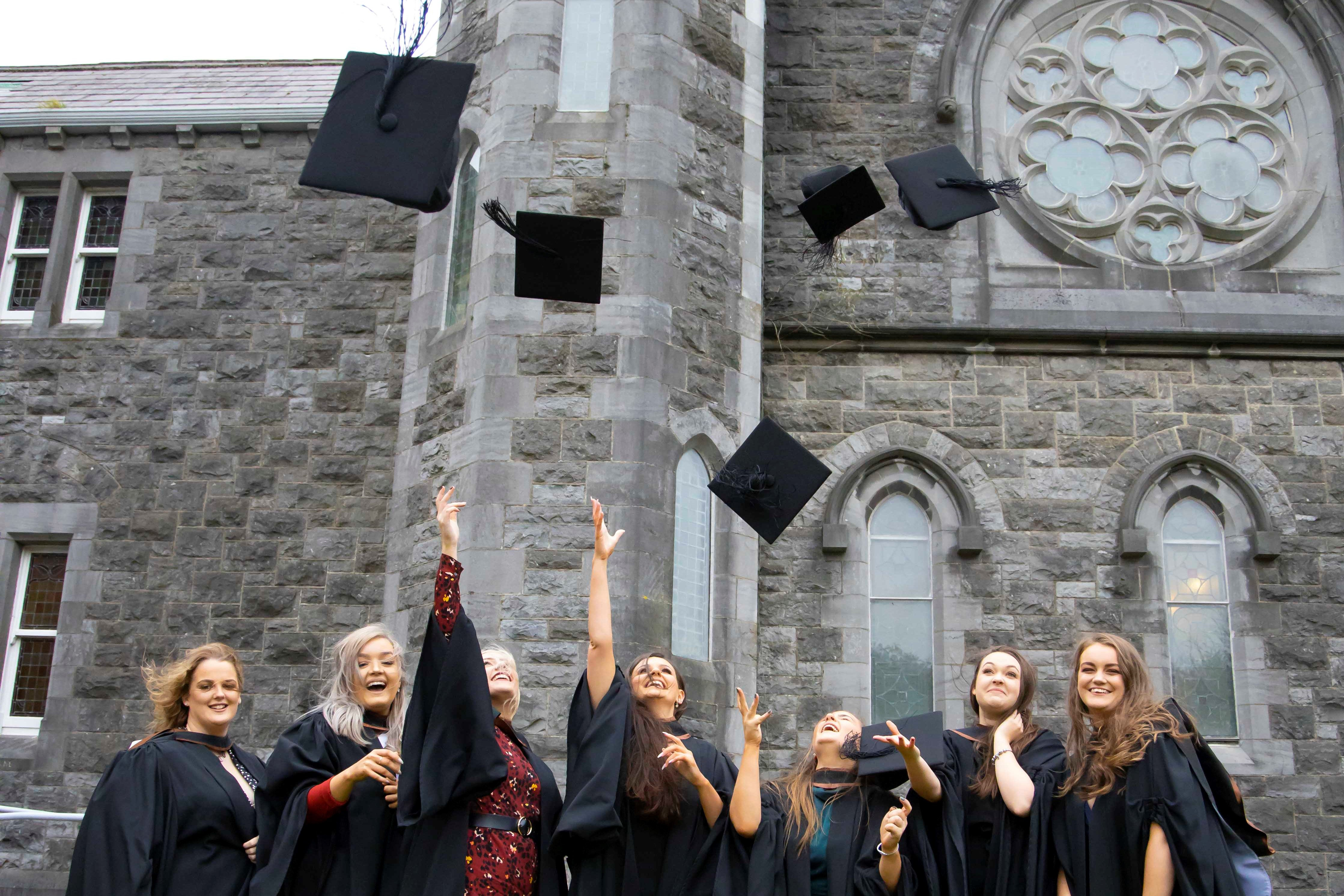 Waterford Institute of Technology (WIT) Conferring Ceremonies. Pictured are Rachel Rogers Waterford city Sarah Power Carrick on Suir, Hannah Brennan Waterford City, Chloe O'Keefe Waterford city, Aoife Whitty New Ross, Louise Honey Rosslare and Mia Doyle Gorey . Picture: Patrick Browne