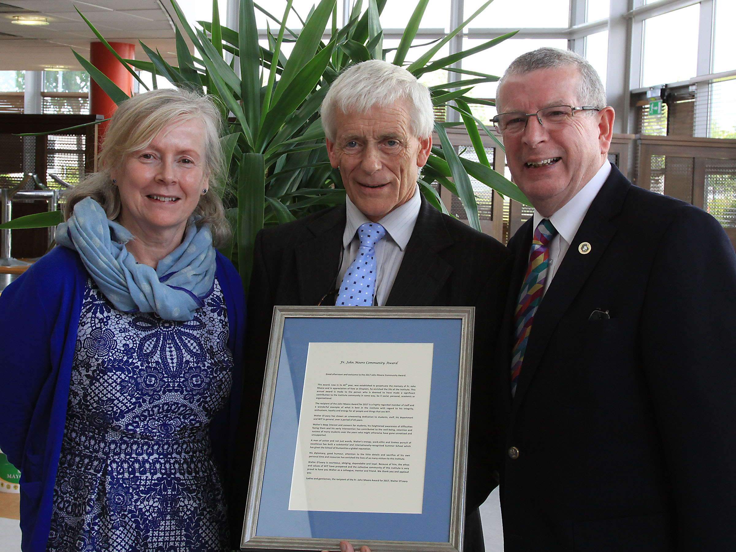 Pictured from left at the 2017 John Moore Award ceremony are Head of the School of Humanities, Dr Marian O'Neill, award recipient, Dr Walter O'Leary and Dr Ray Cullen, Head of Department of Languages Tourism Hospitality