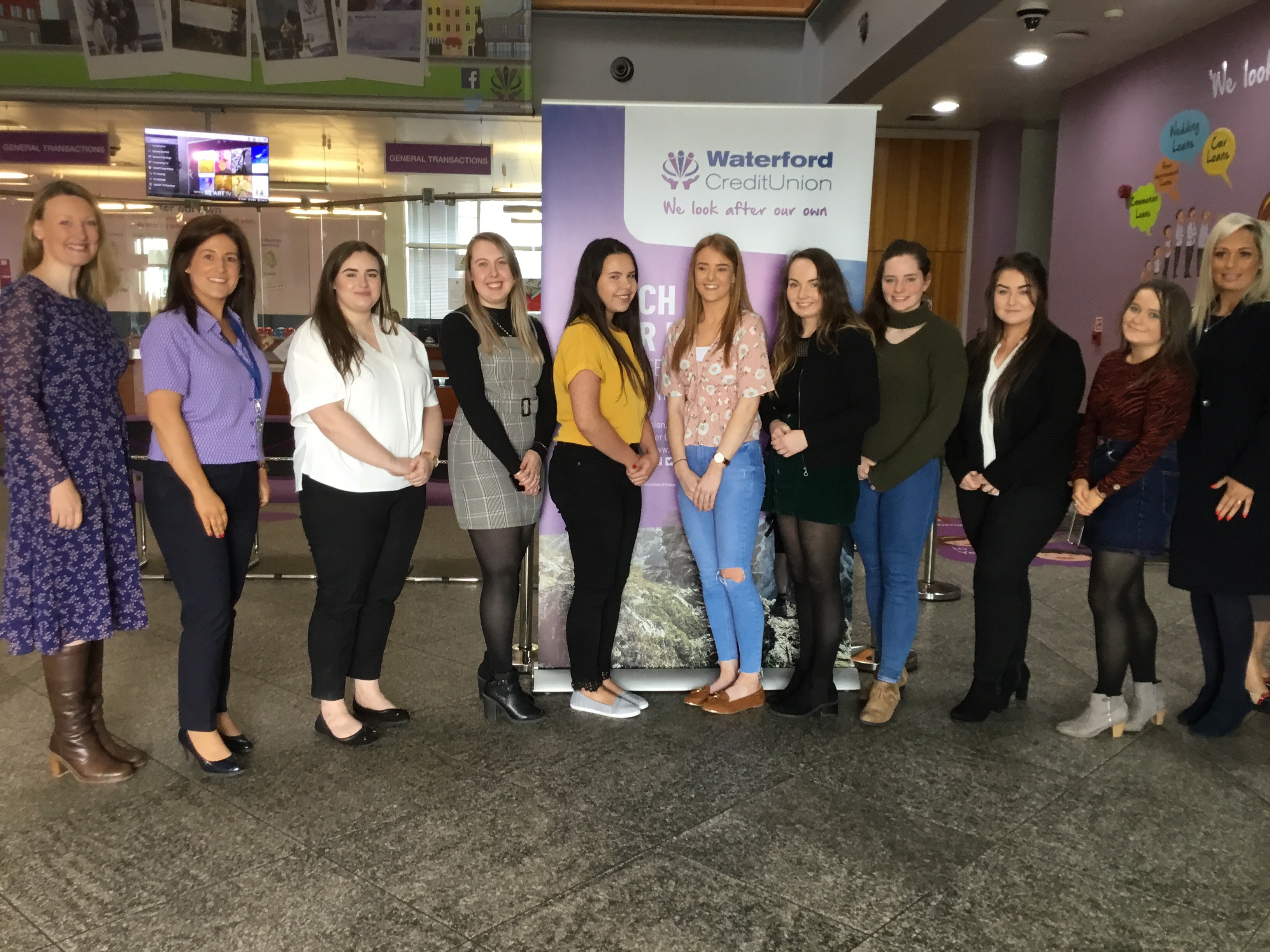 From left are: Sinead O'Keeffe (Lecturer, WIT) Ann-Marie Drohan (Marketing Manager, Waterford Credit Union) Niamh Whitty (WIT) Georgina Conroy (WIT Winner) Lauren Organ (WIT) Niamh Teat (WIT) Emma O'Connell (WIT) Georgia English (WIT) Shannon Keohan (WIT) Rebecca Long (WIT) Jen Power (Waterford Credit Union)