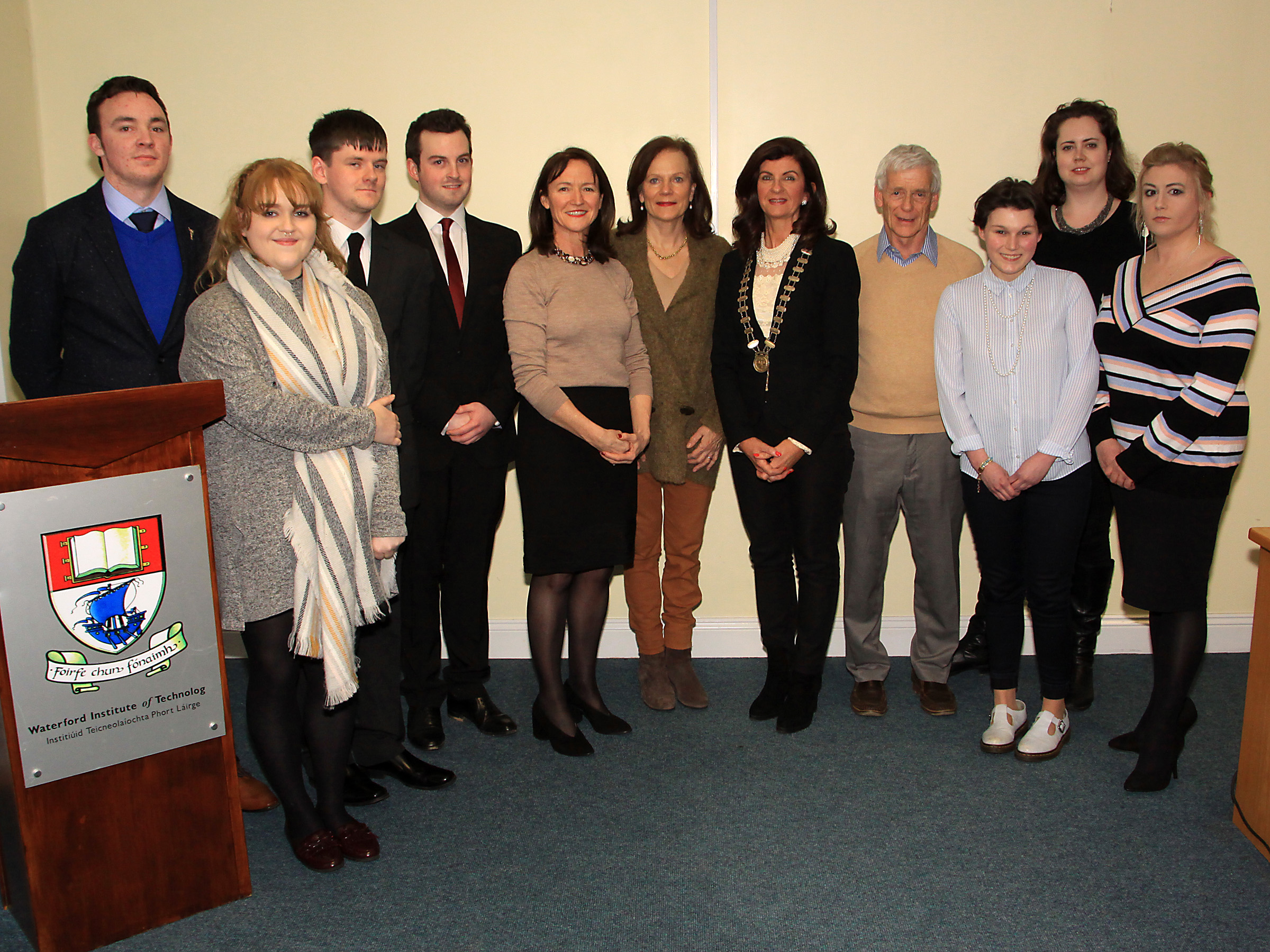 Pictured from left are Brandon Power, Sarah O Neill, Colm Kelly-Ryan, Sean Murphy, Deirdre Adams Law lecturer, Liz Dowling Soliicitor,  Edel Morrissey president of the Waterford Law Society, Walter O Leary Law Lecturer, Saoirse Fleming, Jennifer Kavanagh Law Lecturer, Kelly Thomas (Winner)